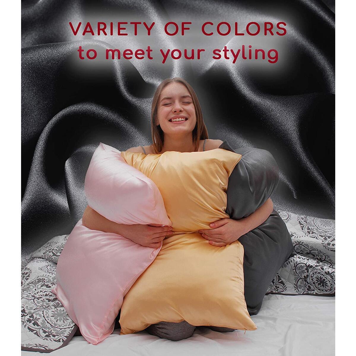 Mellanni Silk Pillowcase for Hair and Skin - Both Sides 100% Pure Natural Mulberry Silk - 19 Momme - Hidden Zipper ClosurePillow Case- (Standard 20