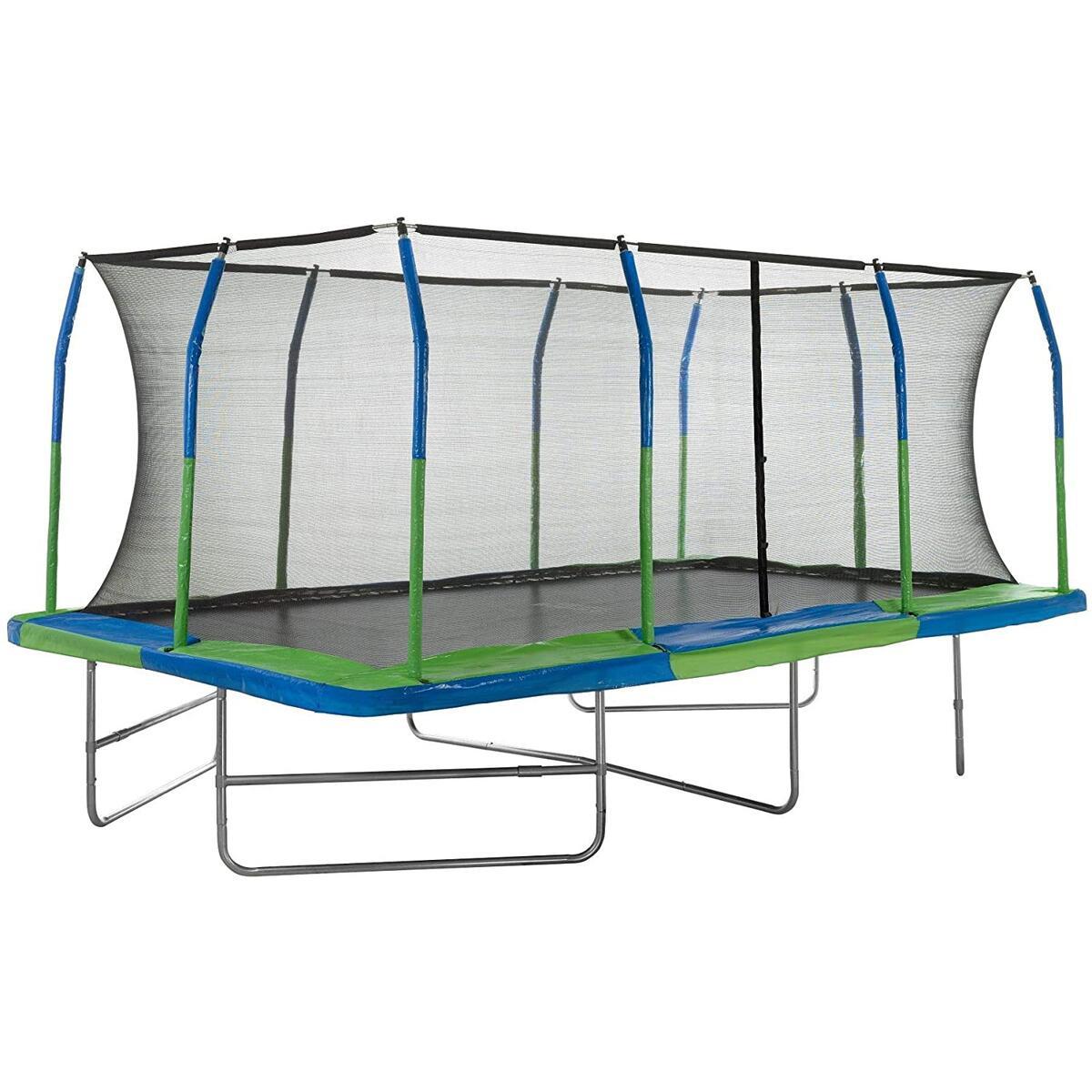 Mega Outdoor Trampoline with Fiber Flex Enclosure System, Big Trampoline for Kids,Great Exercise Rectangular Adult Trampoline
