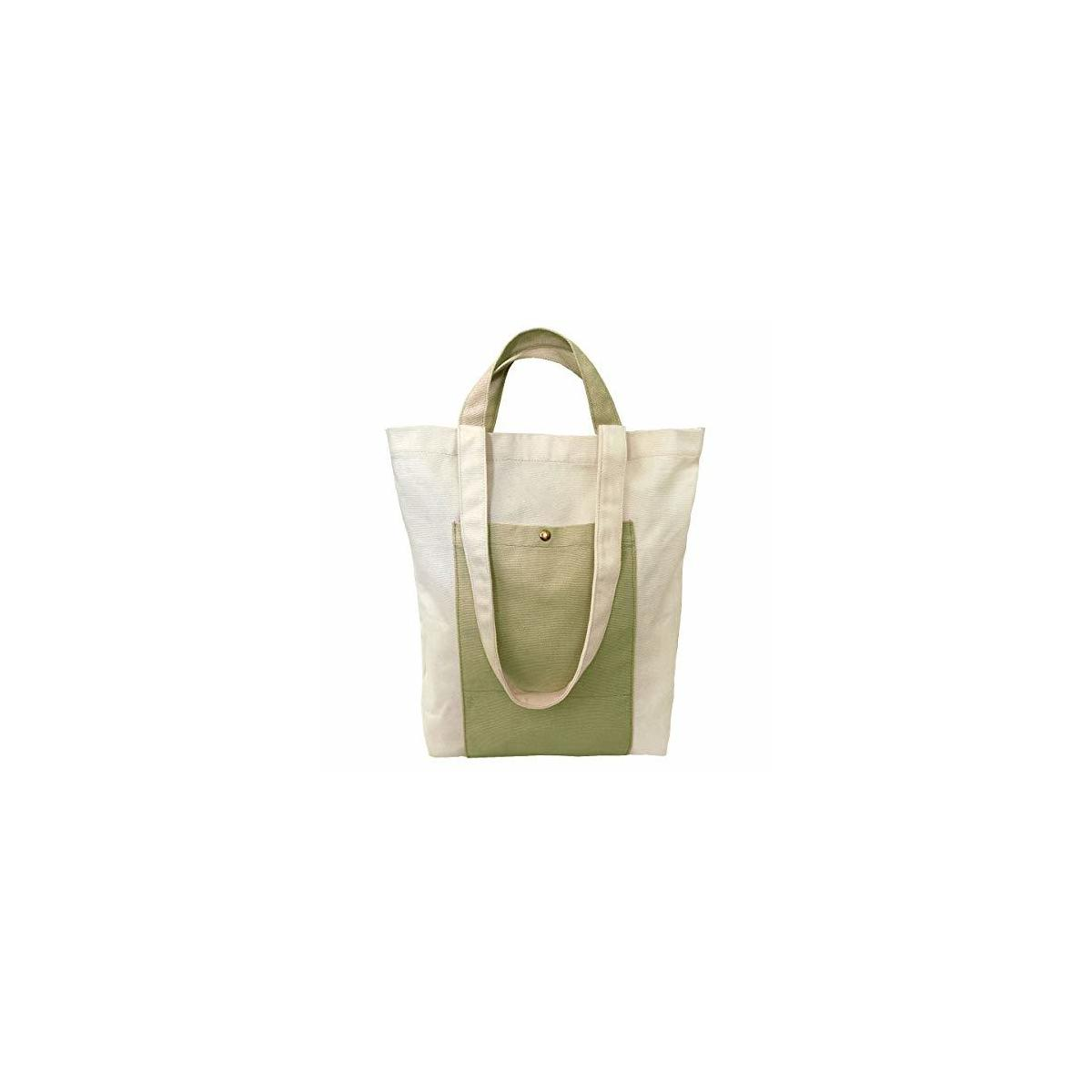 KELAMY Women Canvas Tote Shoulder Bag with Handles for Casual, Grocery Shopping, School & Work (Sage Green)