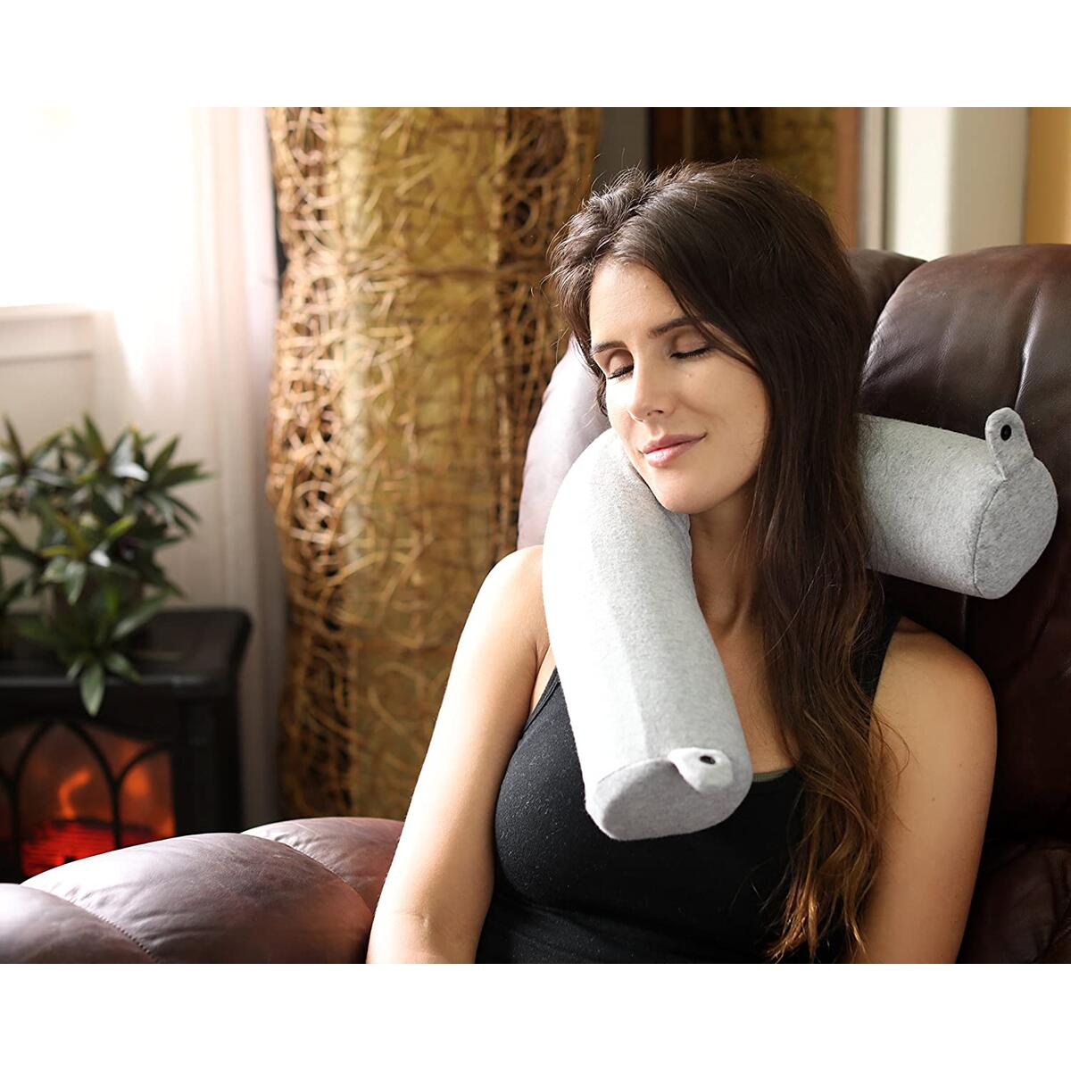 Twist Memory Foam Travel Pillow for Neck, Chin, Lumbar and Leg Support (Gray)