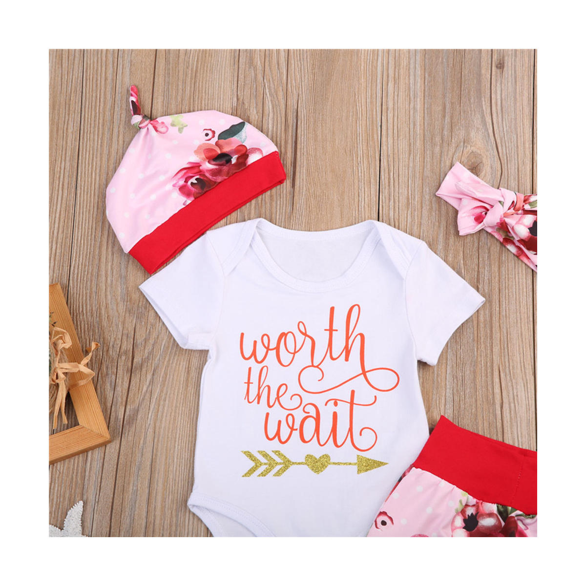 Newborn Baby Girls Floral Bodysuit Romper + Pants + Hat + Headband Coming Home Outfits Clothes