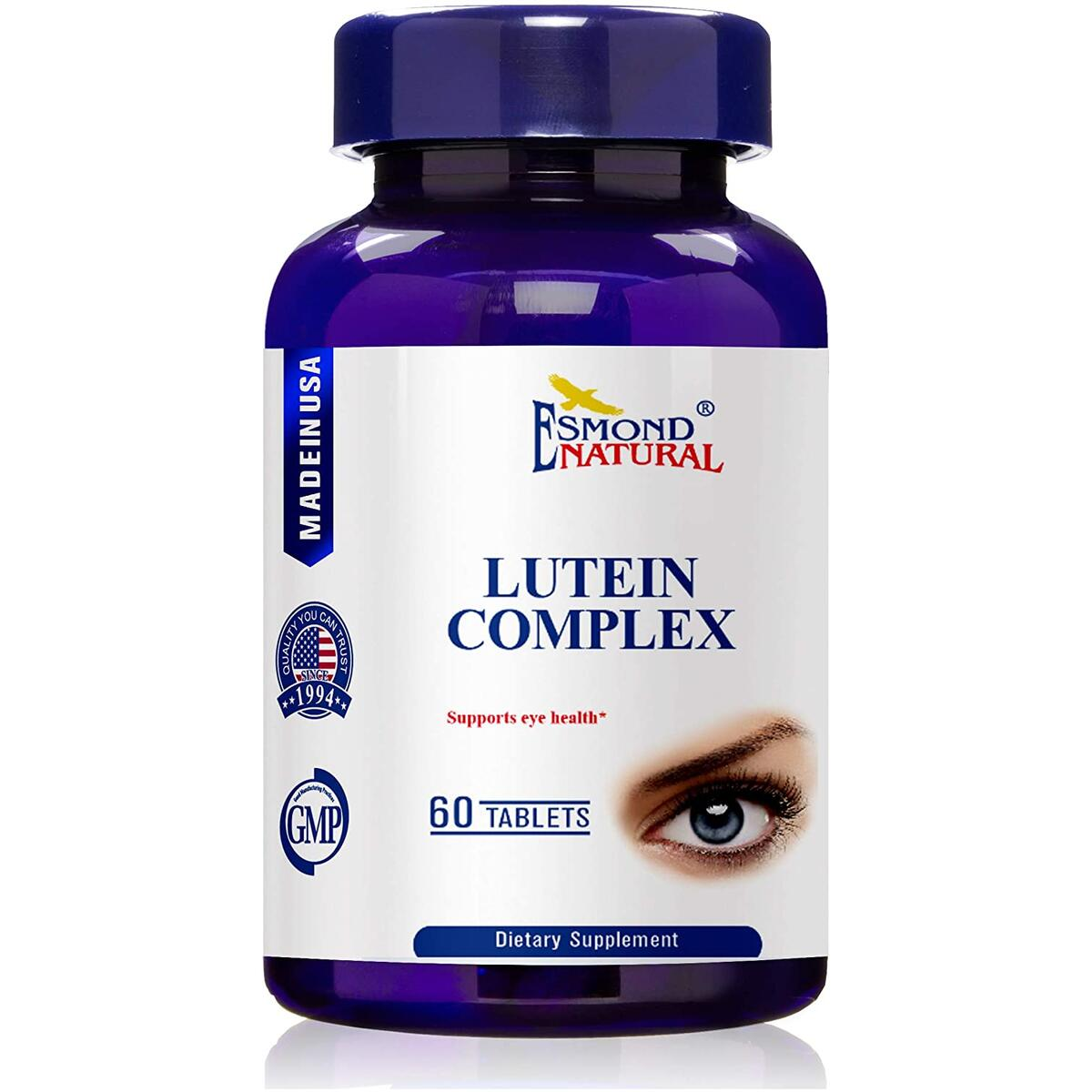 (3 Count, 10% Off) Esmond Natural: Lutein Complex (Supports Eye Health), GMP, Natural Product Assn Certified, Made in USA-180 Tablets