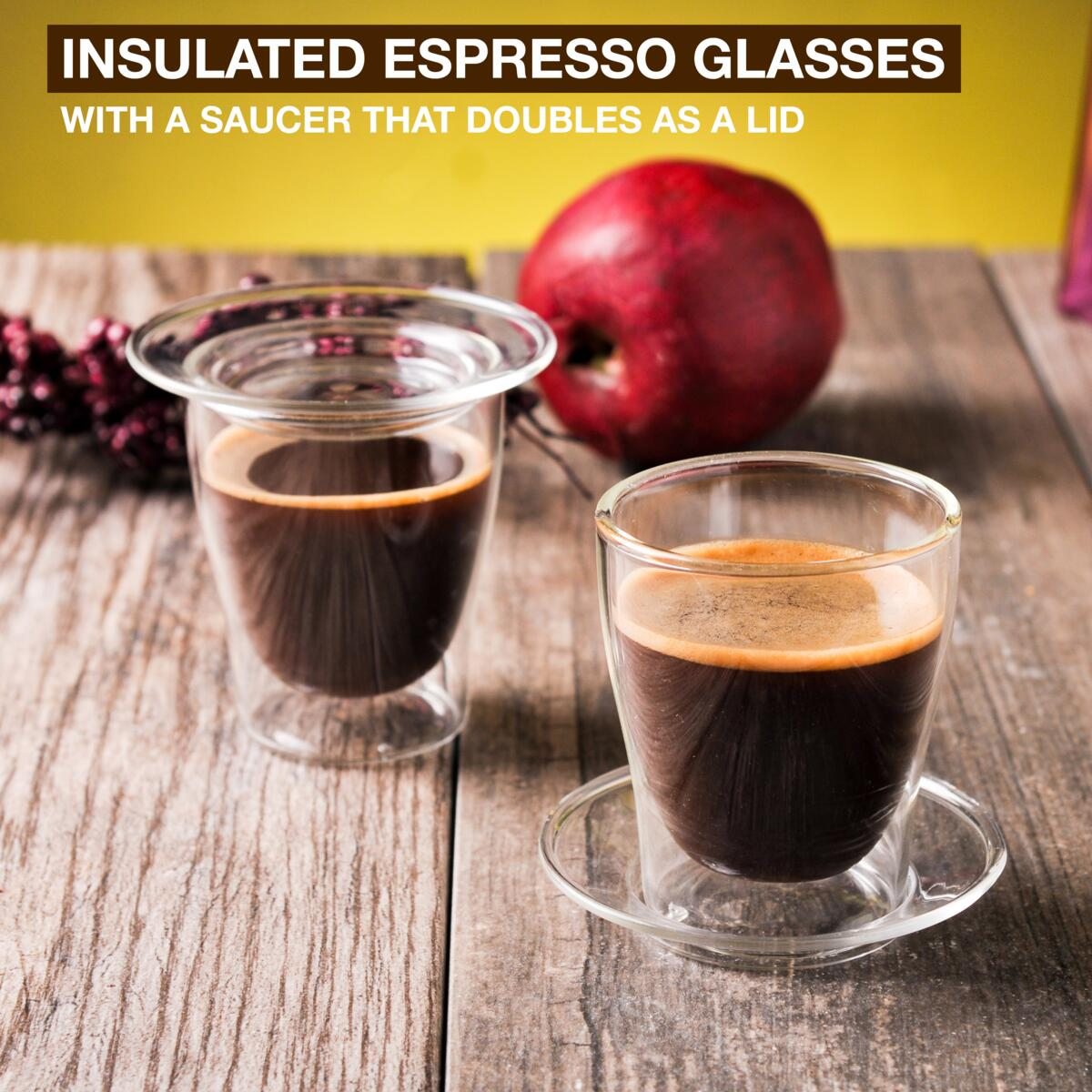 Eparé 4 oz Double Wall Double Espresso Cups (Set of 2)