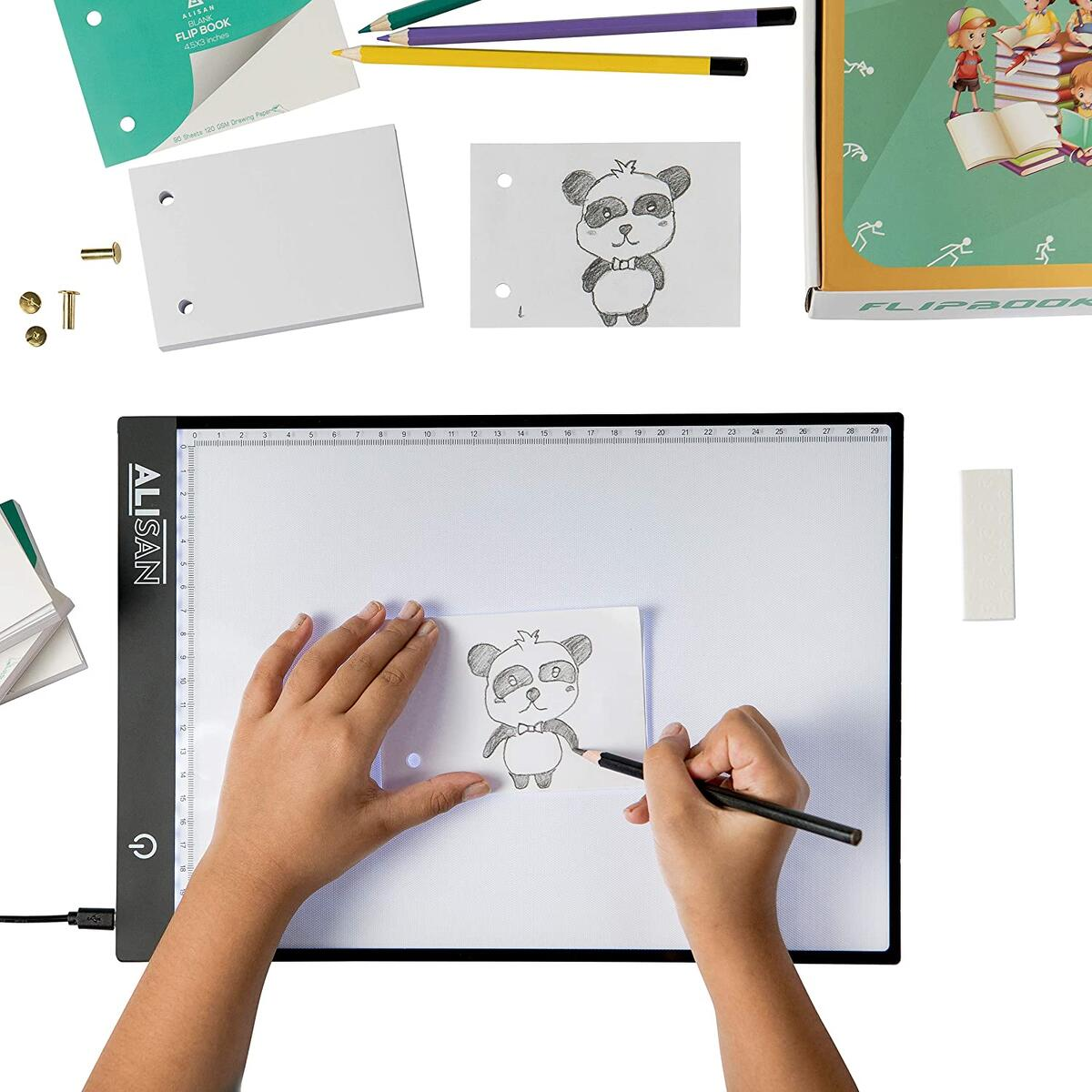 Animation Flipbook Flip Book Kit with LED A4 Light Pad, 360 Sheets Flipbook Paper with Holes & Screws, Kids Arts and Crafts Supplies for Girls and Boys of Any Age.