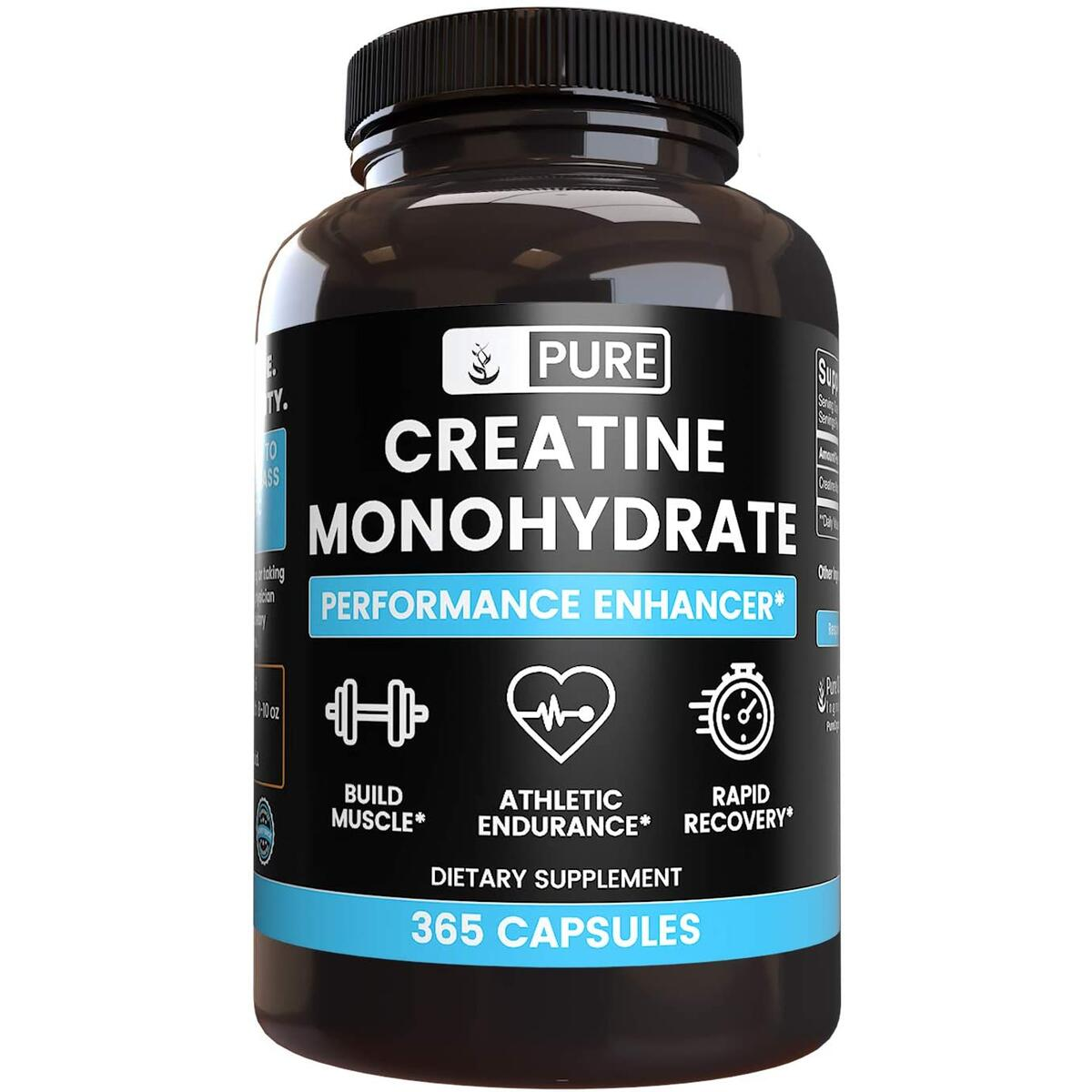 Creatine Monohydrate, 365 Capsules, 1 Month Supply, No Stearates or Rice Filler, Gluten-Free, Potent, Made in USA, 2200 mg Serving of Pure Micronized Creatine Monohydrate