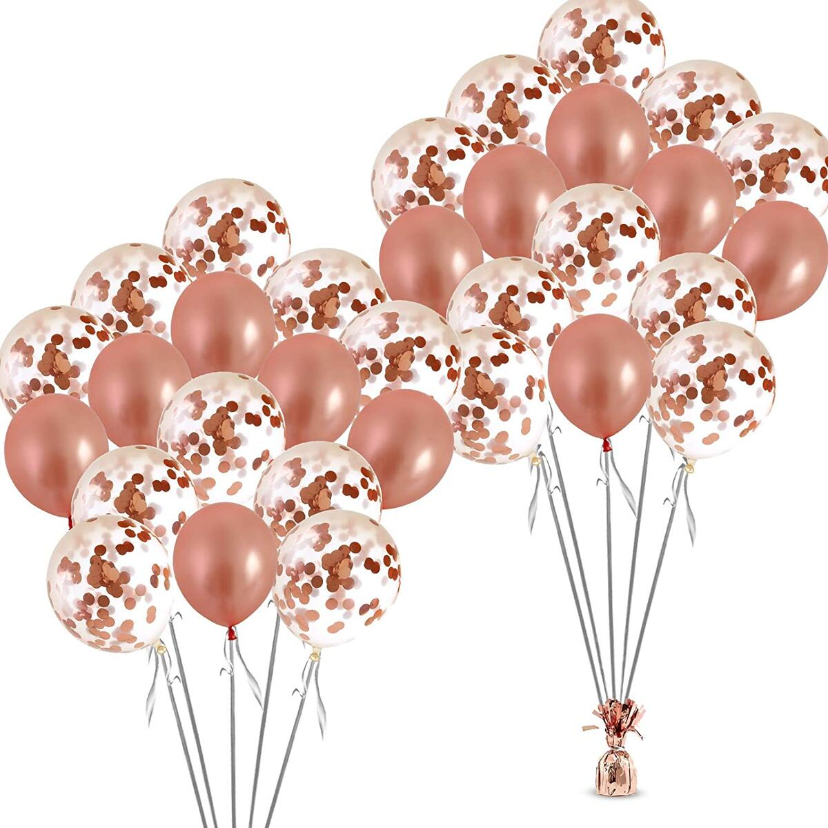 Rose Gold Confetti Balloons Set- 32 pcs Bachelorette Party Decorations for Bridal Showers, Wedding, Engagement Decor & Birthday Parties - Premium Large 18