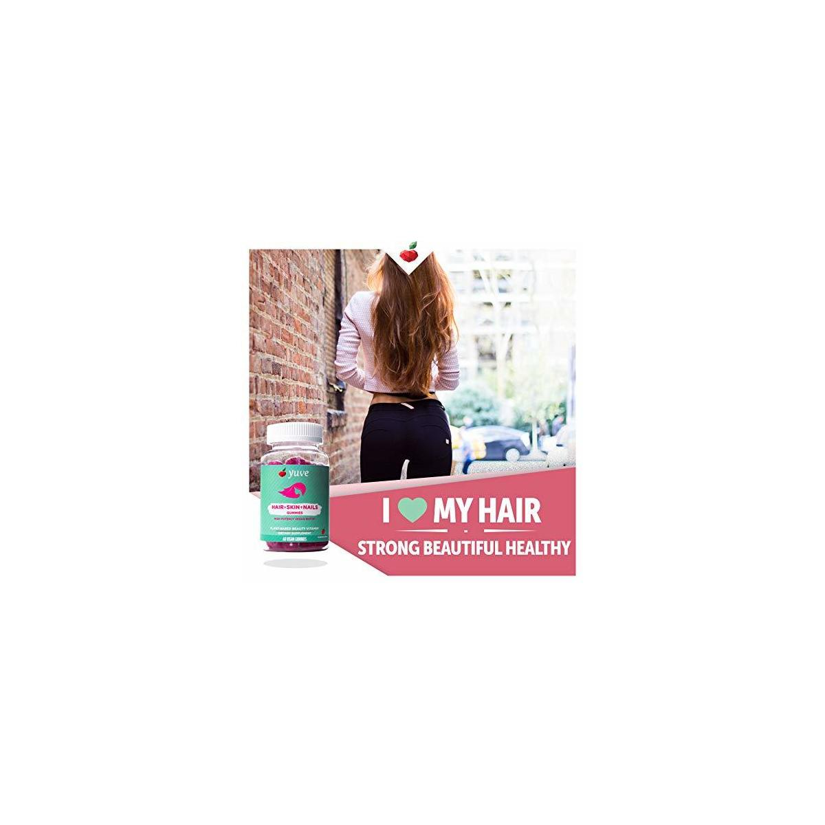 Yuve Vegan Biotin 5000 mcg Gummies - For Longer, Stronger, Healthier Hair Growth - Glowing Skin and Strong Nails - Natural, Non-GMO, Gluten and Gelatin Free - High Potency Vitamin B7 Supplement - 60ct