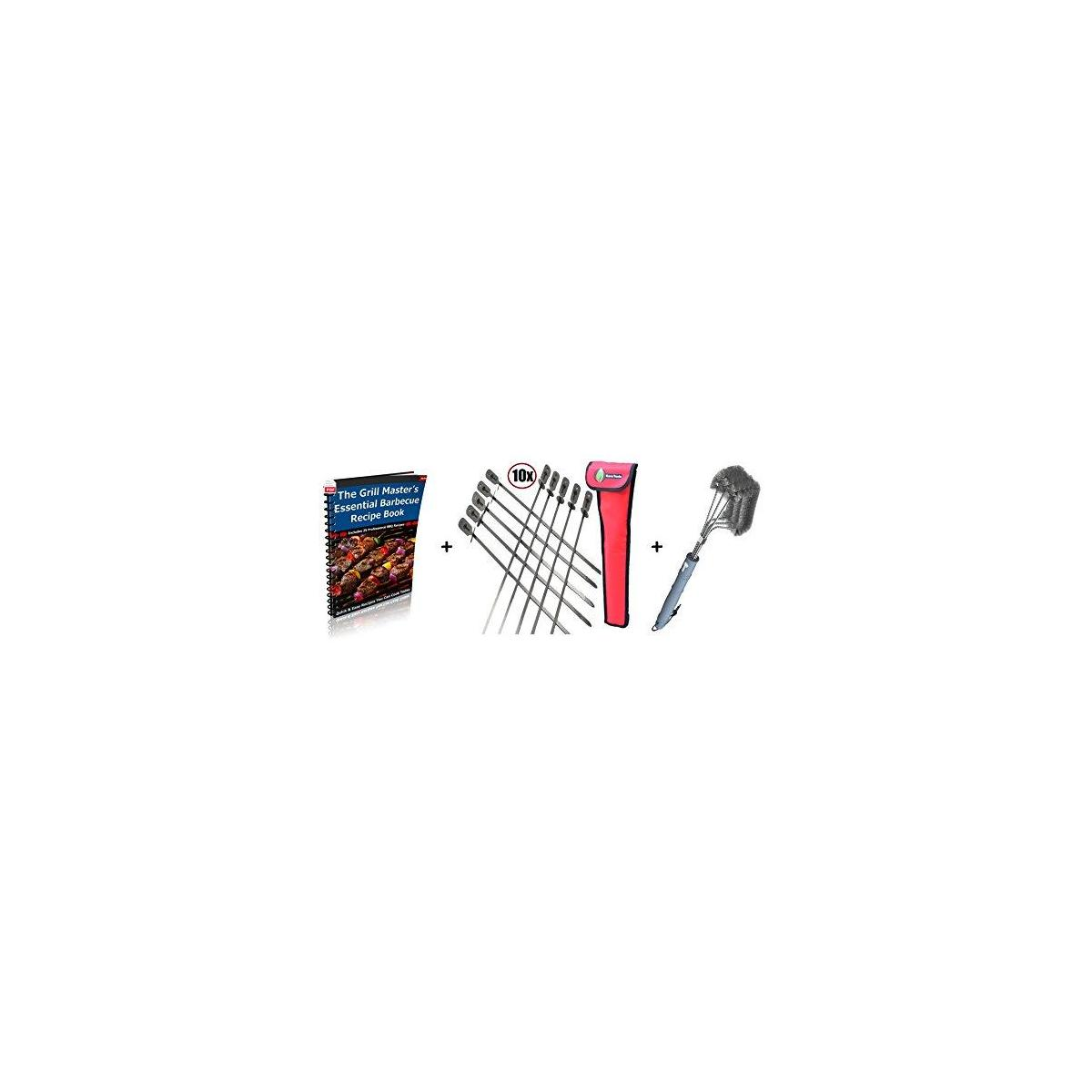 Skewers Set Extra Long + BBQ Grill Brush - Improved 100% Rust Proof Design - Stainless Steel Wire Bristle with Strength Clip for Cleaning Char Broil Weber Porcelain and Infrared Barbecue Grates