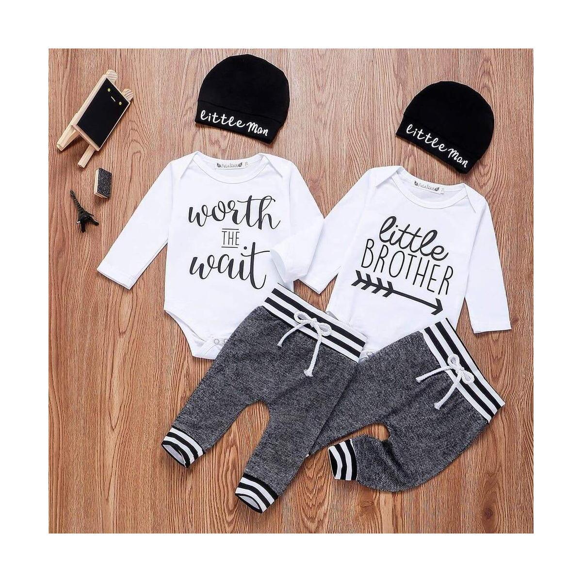 Infant Baby Boy Outfits Clothes Letter Print Romper Jumpsuit Set