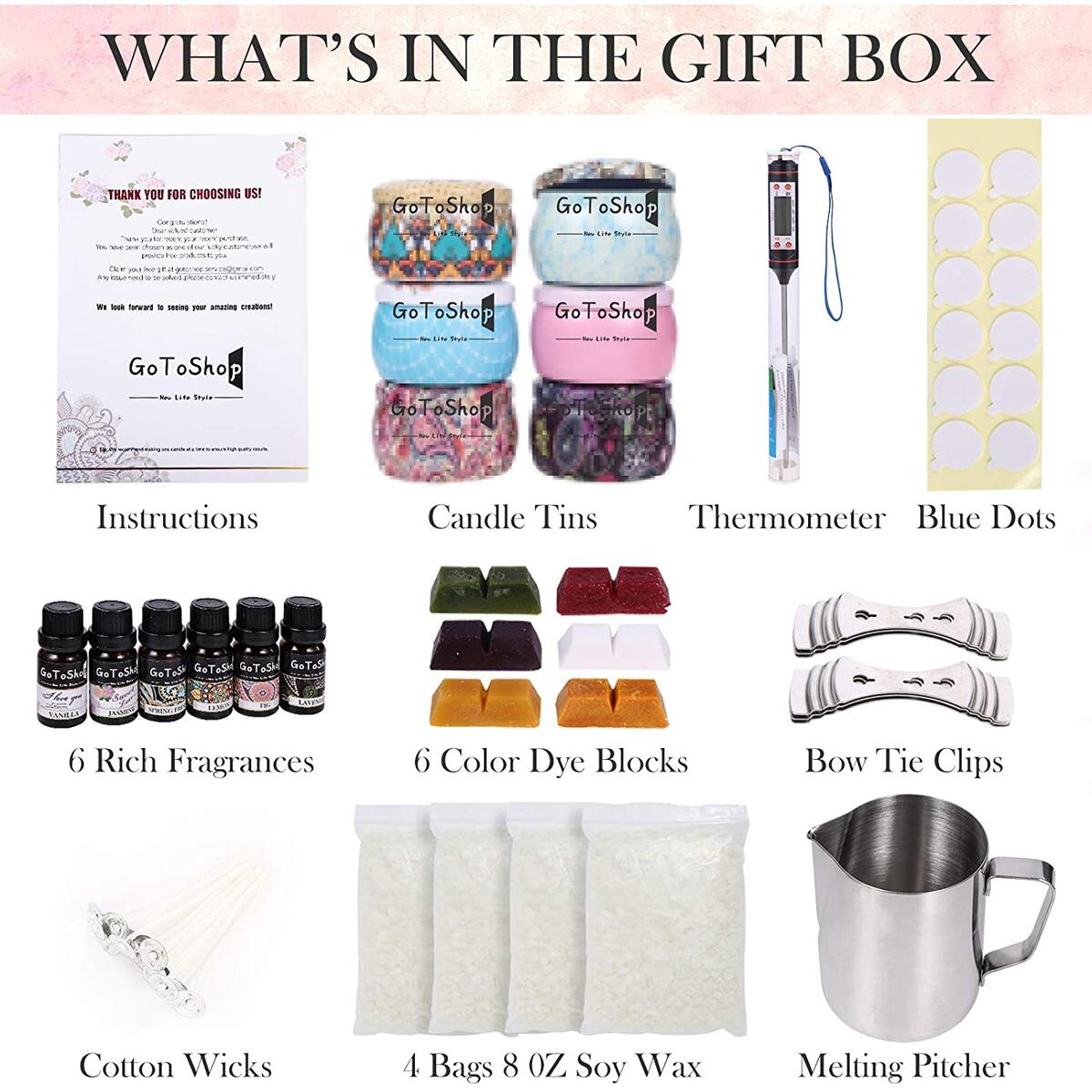 Candle Making Kit for Adults 64 Pieces Bigger Set Soy Candle Making Supplies Kit with Prime Gift Box 6 Colors and Scent