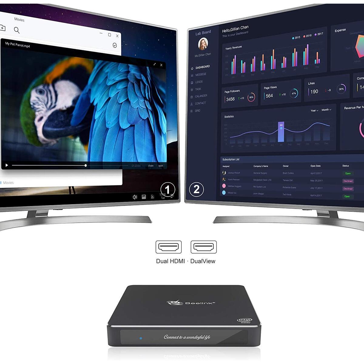 Beelink Mini PC Intel Celeron N3450(up to 2.2GHz),Windows 10 Pro Mini Desktop Computer, 8GB DDR3/128GB SSD, 2.4G/5G Dual WiFi, Gigabit Ethernet, 4K HD Dual HDMI Ports, BT4.0