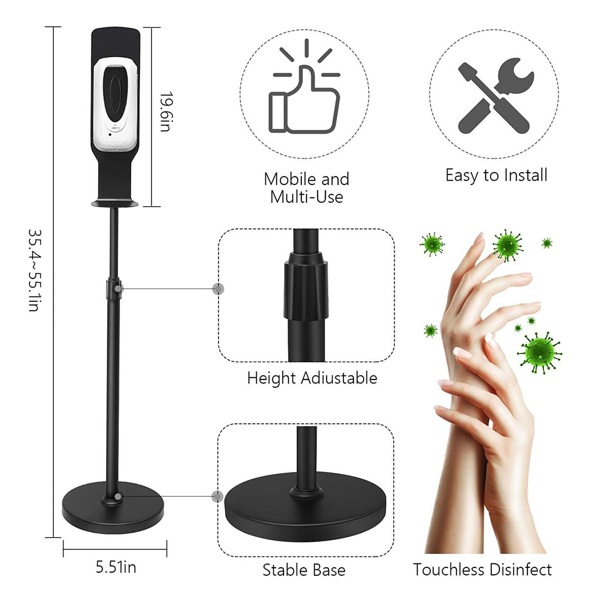 Automatic Hand Sanitizer Soap Dispenser Station,Touchless Hand Cleaner Dispenser with Stand 1000ML Auto Alcohol Sprayer Kit 35.4-56 Inches Adjustable Mist Spray Machine for Offices Schools Shop Mall