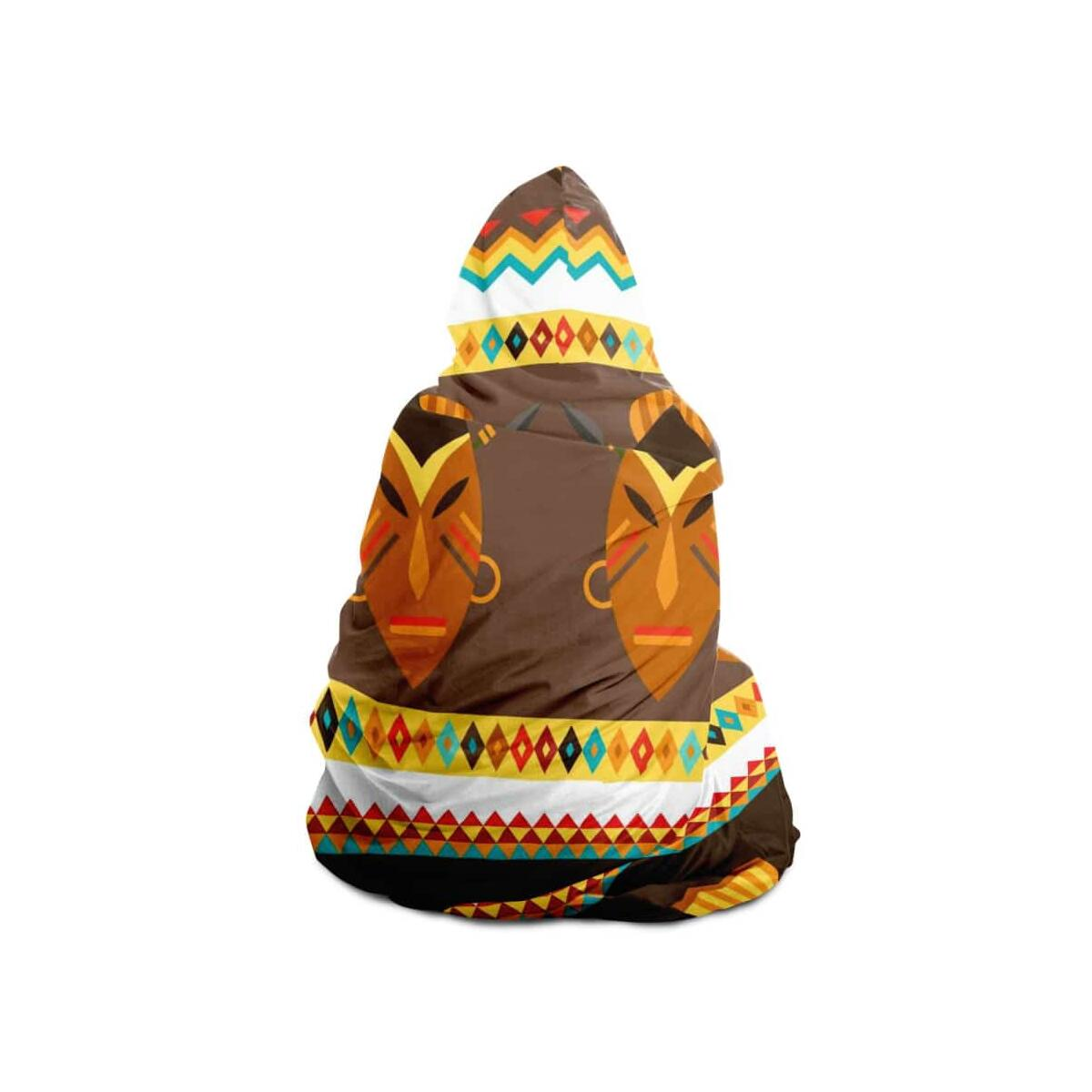 African Djembe Masks Hooded Blanket, Adult / Micro Fleece
