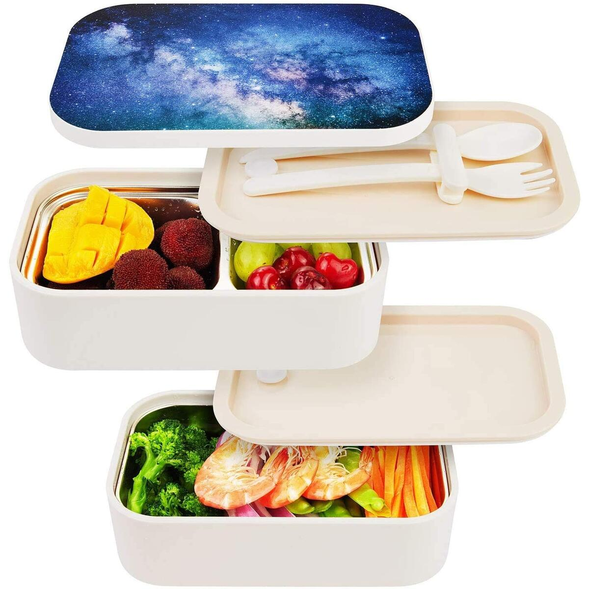 Stackable Bento Lunch Box - All-in-One Leak Proof Stainless Steel Container - Modern Bento-Style Design, Built-in Plastic Utensil Set, and Nylon Sealing Strap (Starry)