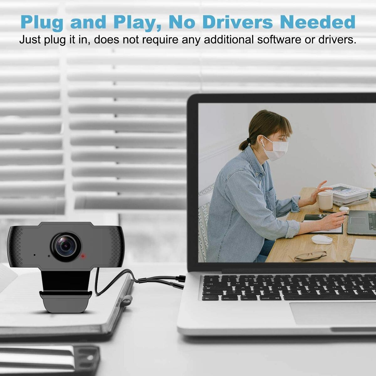 1080P Webcam with Microphone for Desktop, AOGE USB Laptop Camera for Computer Web Camera with Plug&Play, Auto Light Correction & Wide Angle Lens for Windows Mac OS PC Live Streaming,Gaming,Conference
