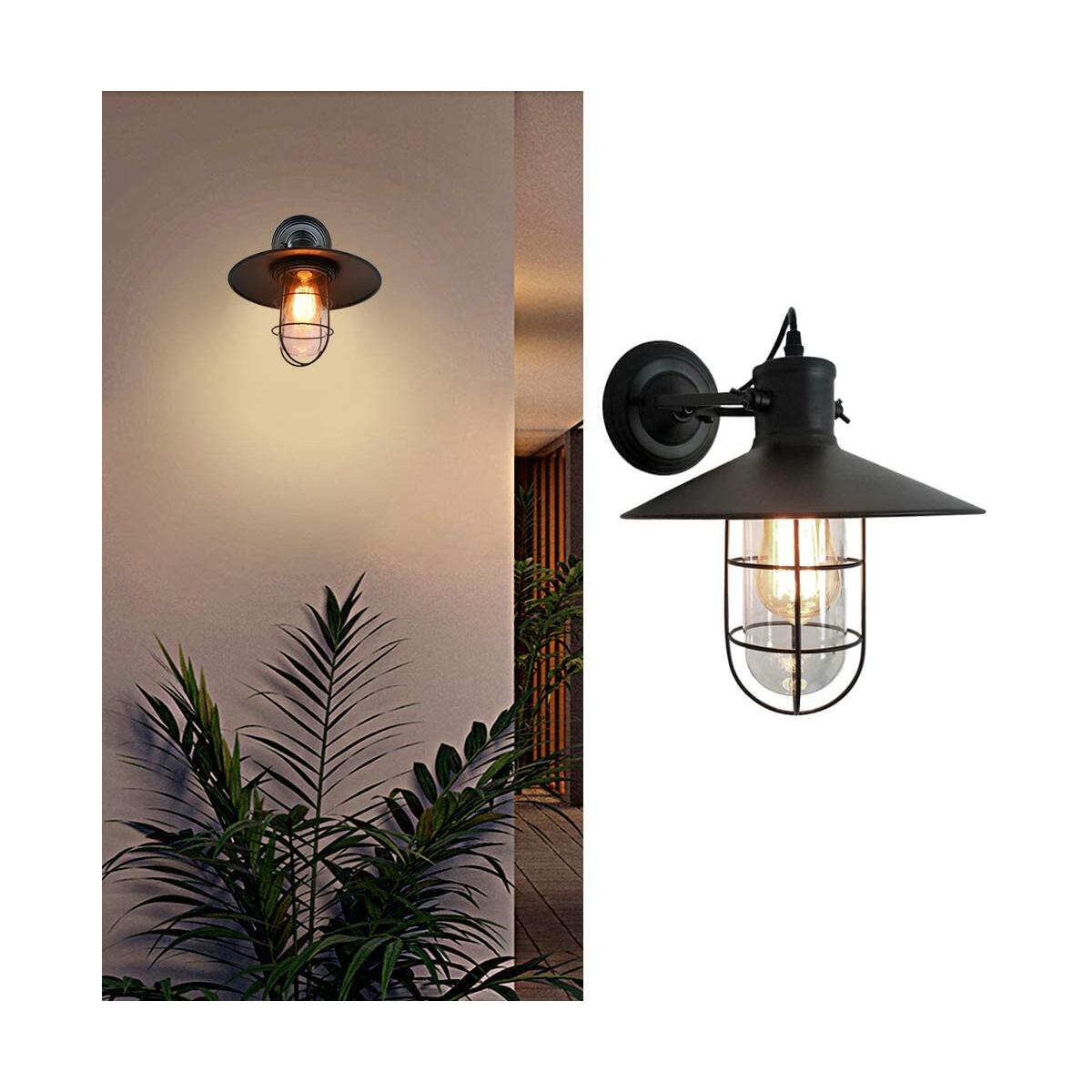 1 Light Industrial Wall Sconce Lighting with Pure Glass Shade, Rustic Wall Sconces Vintage Farmhouse Sconces Wall Lighting Fixtures, Matte Black Mid Century Wall Lamp for Entryway Hallway Porch Garage