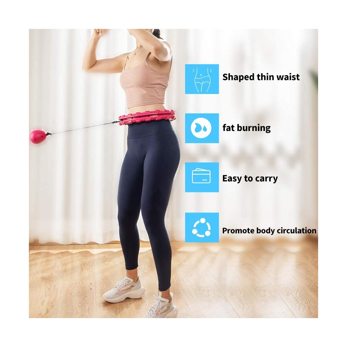 MAS Smart Hula Hoop for Adults Weight Loss, Weighted Hula Hoop for Exercise 24 Detachable Knots do not Fall Off Fitness Circle, Thin Waist and Abdomen for Home Beginner Kids Women