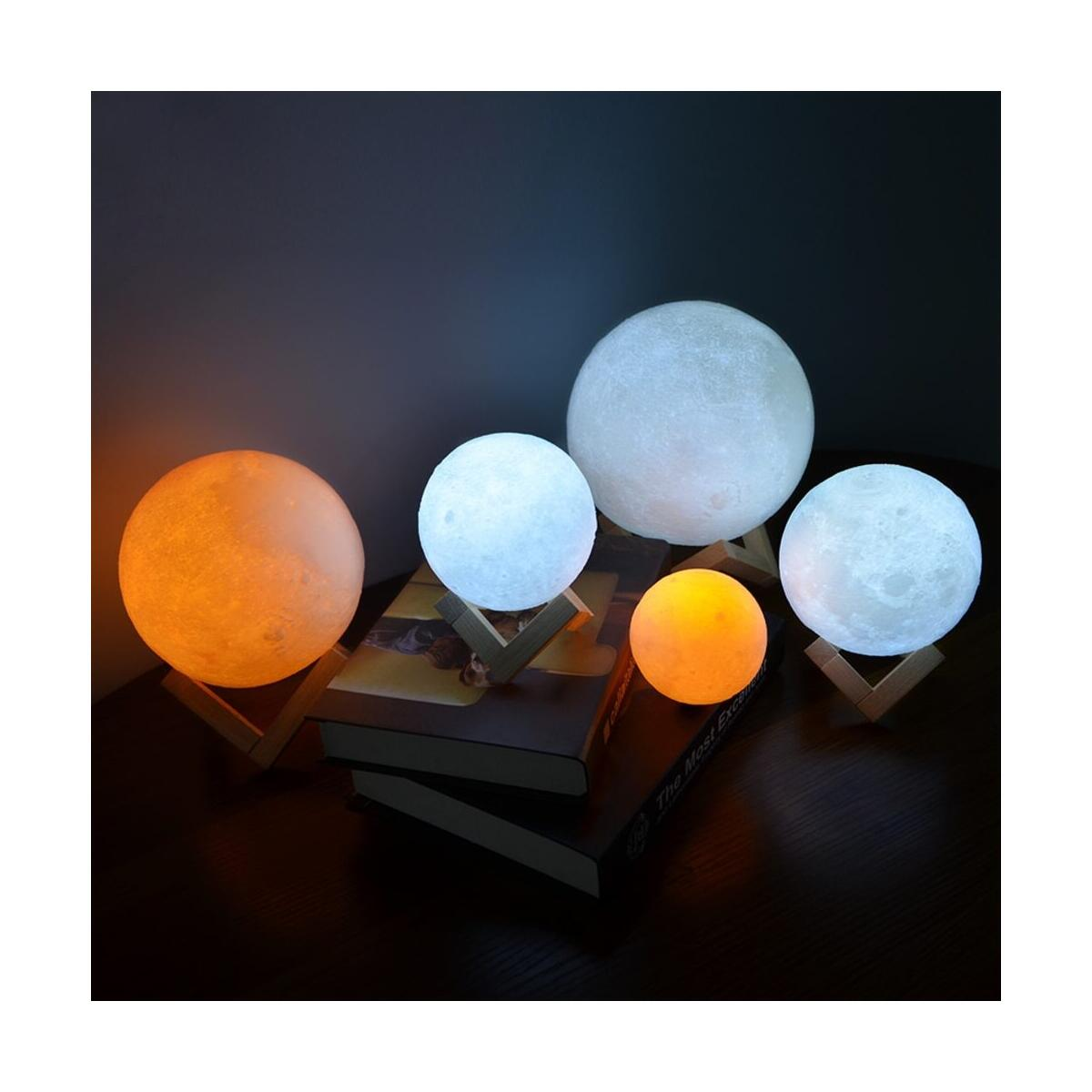 Lighting Night Light LED 3D Printing Moon Lamp, Warm and Cool White Dimmable Touch Control Brightness