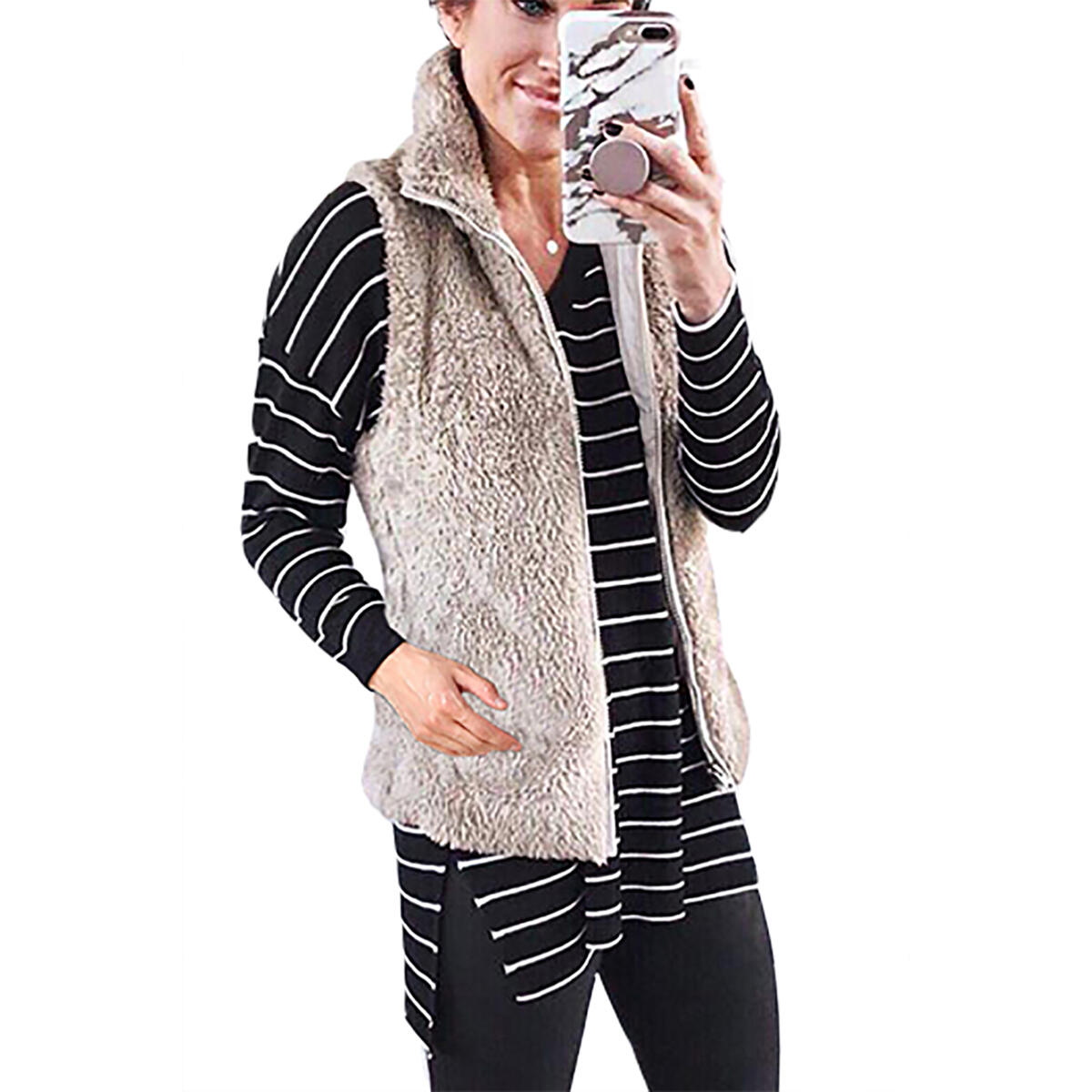 Women's Casual Soft Front Zip Waistcoat Sleeveless Lightweight Warm Fuzzy Sherpa Fleece Vest with Pockets All
