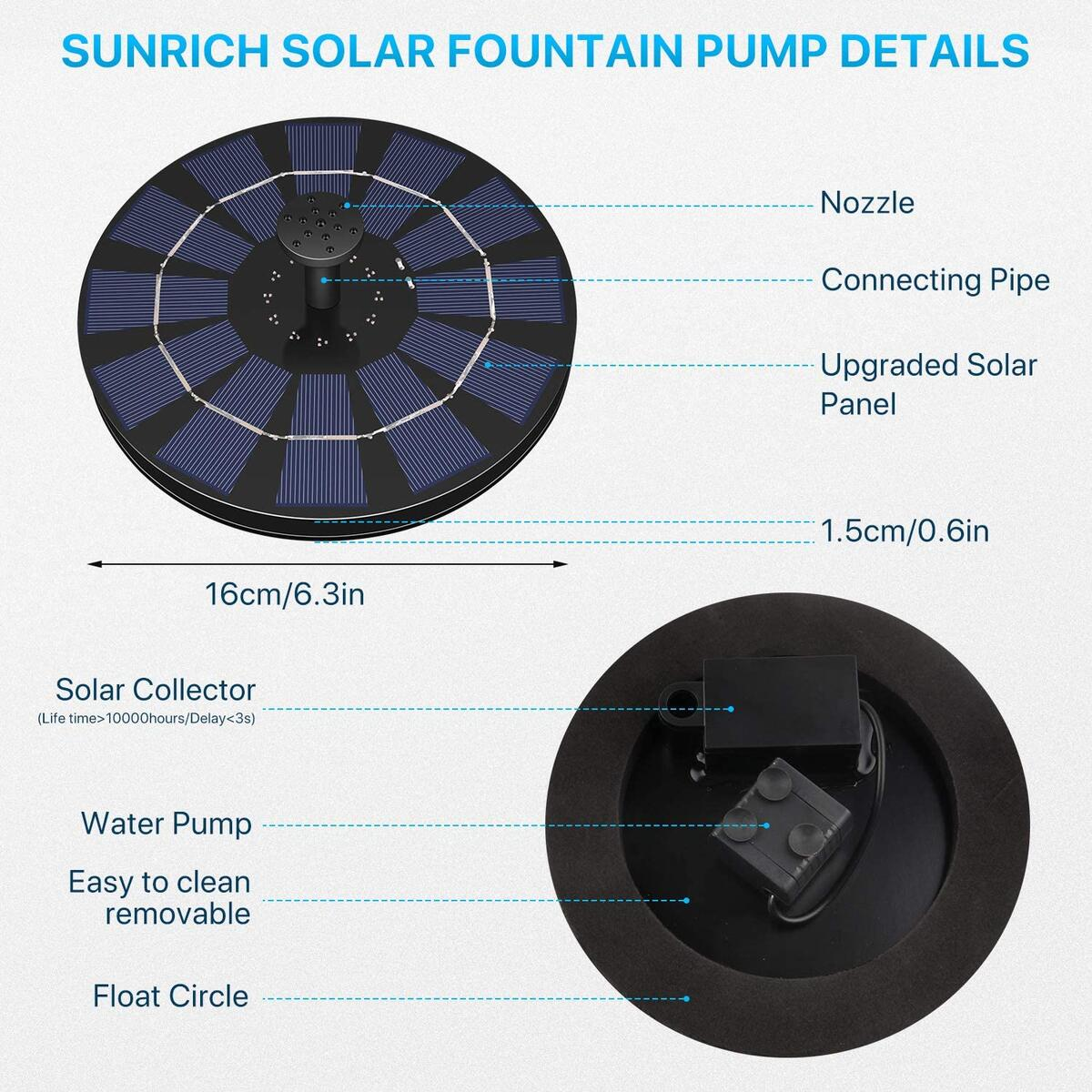 Sunrich Solar Powered Water Fountain Pump 2.5W- Bird Bath Power Fountains 1200mAh Battery Backup with 7 Nozzle, Free Standing Floating for Garden, Outdoor, Pond, Pool