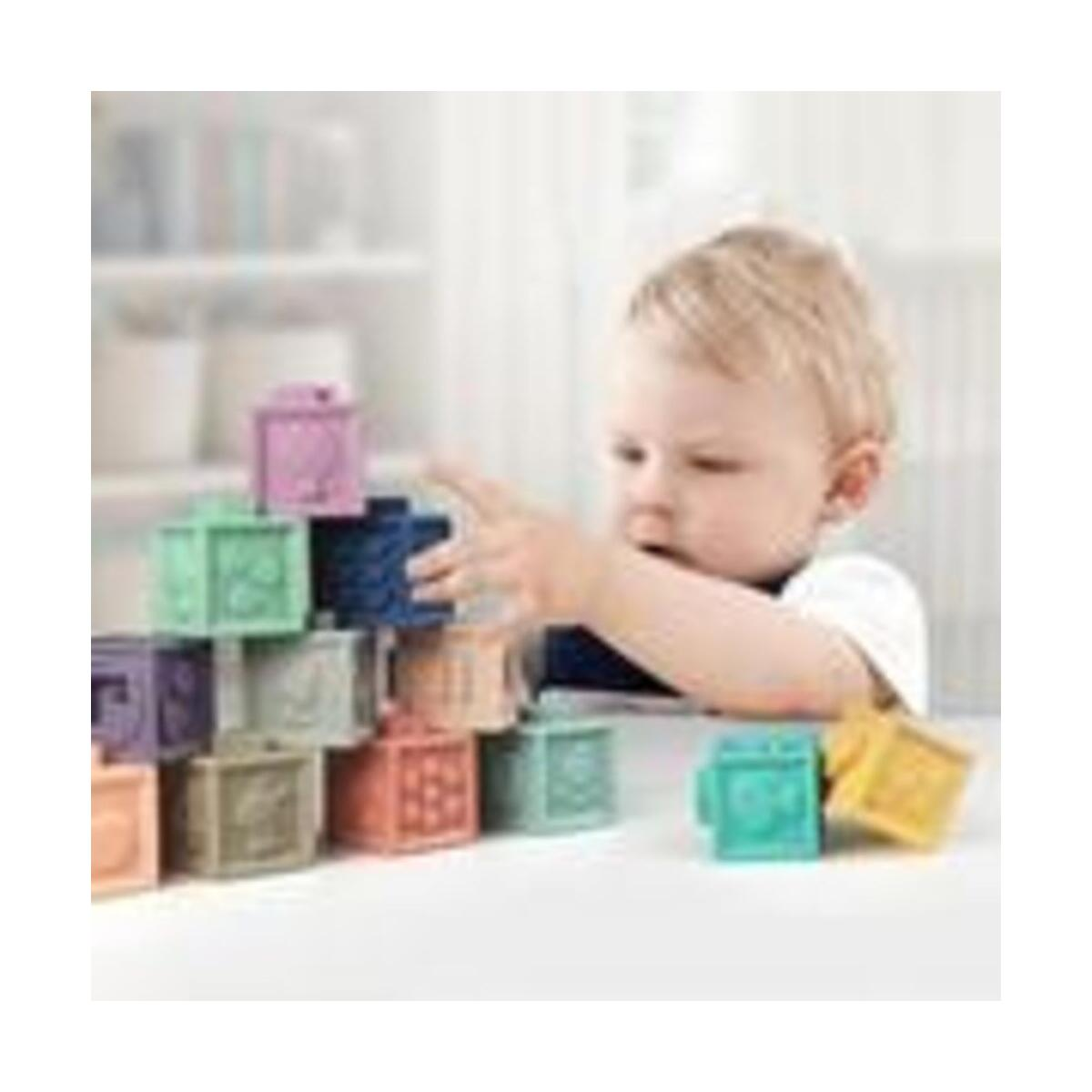 Baby Soft Rubber Vinyl Embossed Building Blocks Baby Teethers Set Grasp Toy 3D Hand Touch Soft Building Blocks