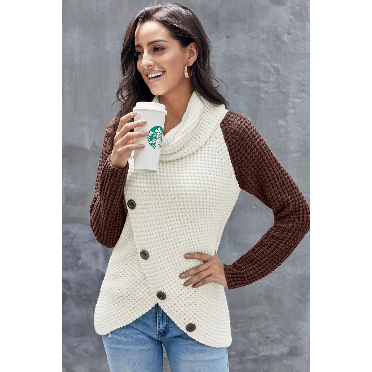 White Turtleneck Sweater with Color Block, Green / M