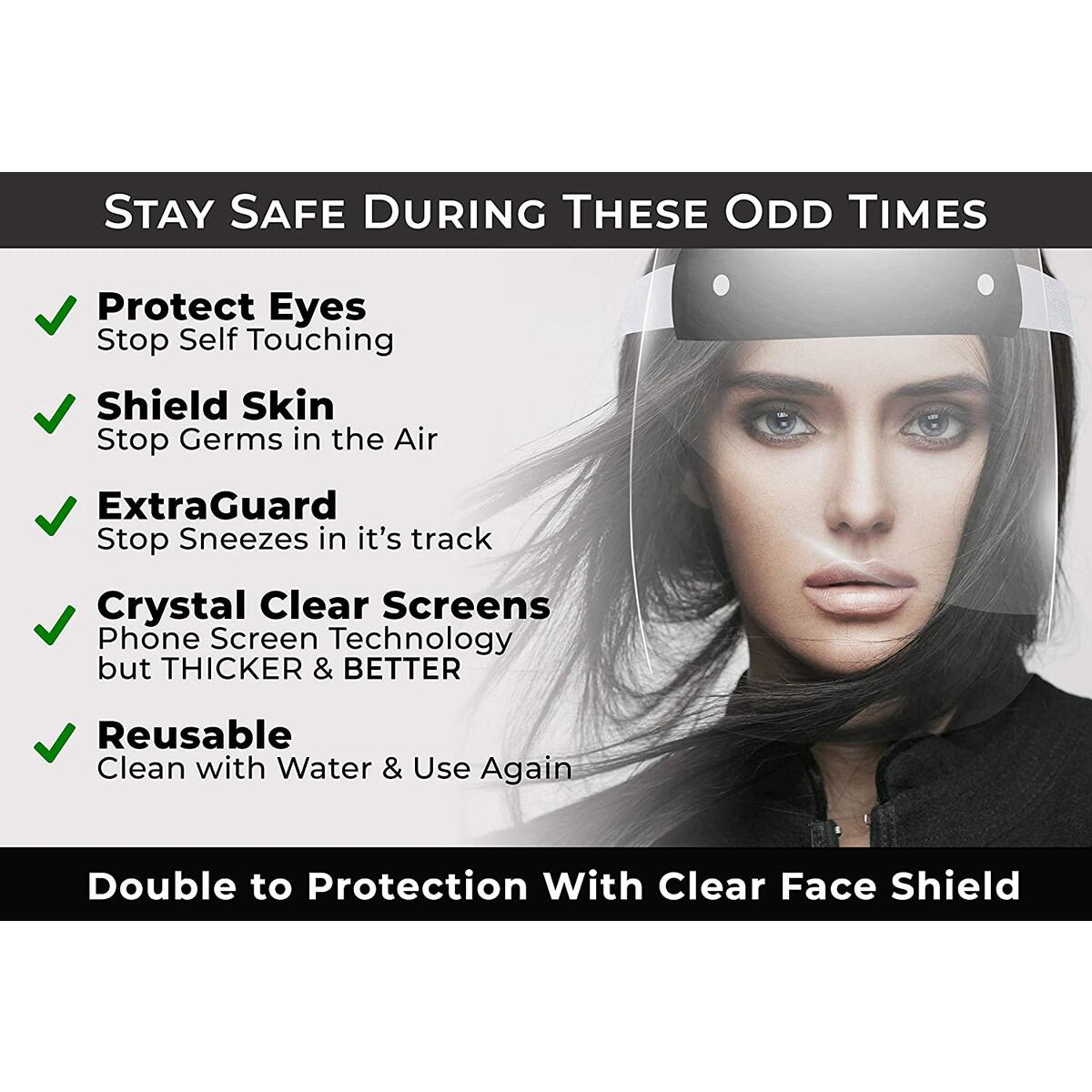 Face 𝐒𝐡𝐢𝐞𝐥𝐝 (Pack of 5) Full Face Protect Eyes - Plastic Face 𝚂𝚑𝚒𝚎𝚕𝚍 with Clear Protective Film Elastic Band and Comfort Elasticity