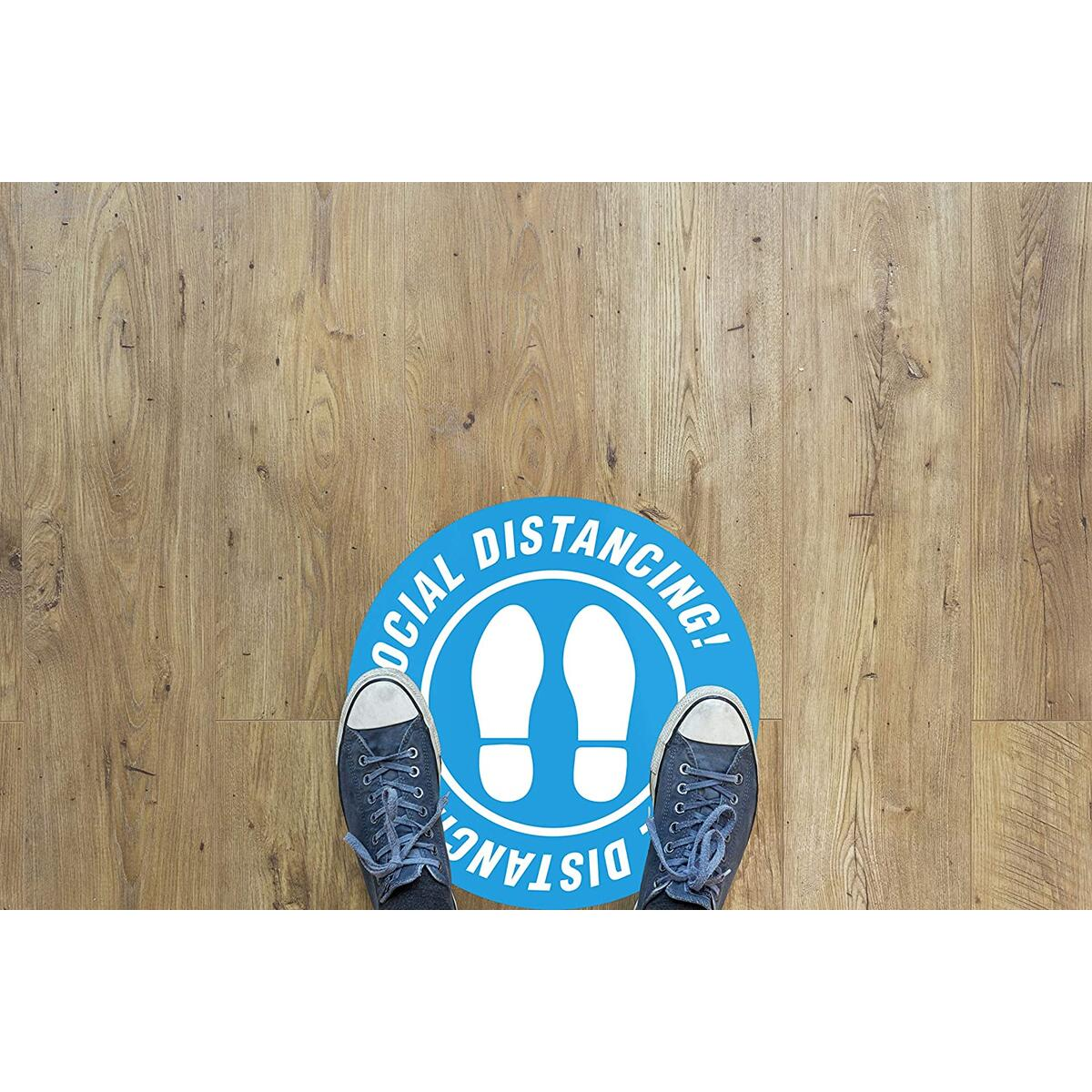 Social Distance Floor Stickers - Social Distancing Floor Decals - Social Distancing Sign - Non Slip - Commercial Grade - Vinyl - Easy to Clean - 12 inch Round -10 Pack