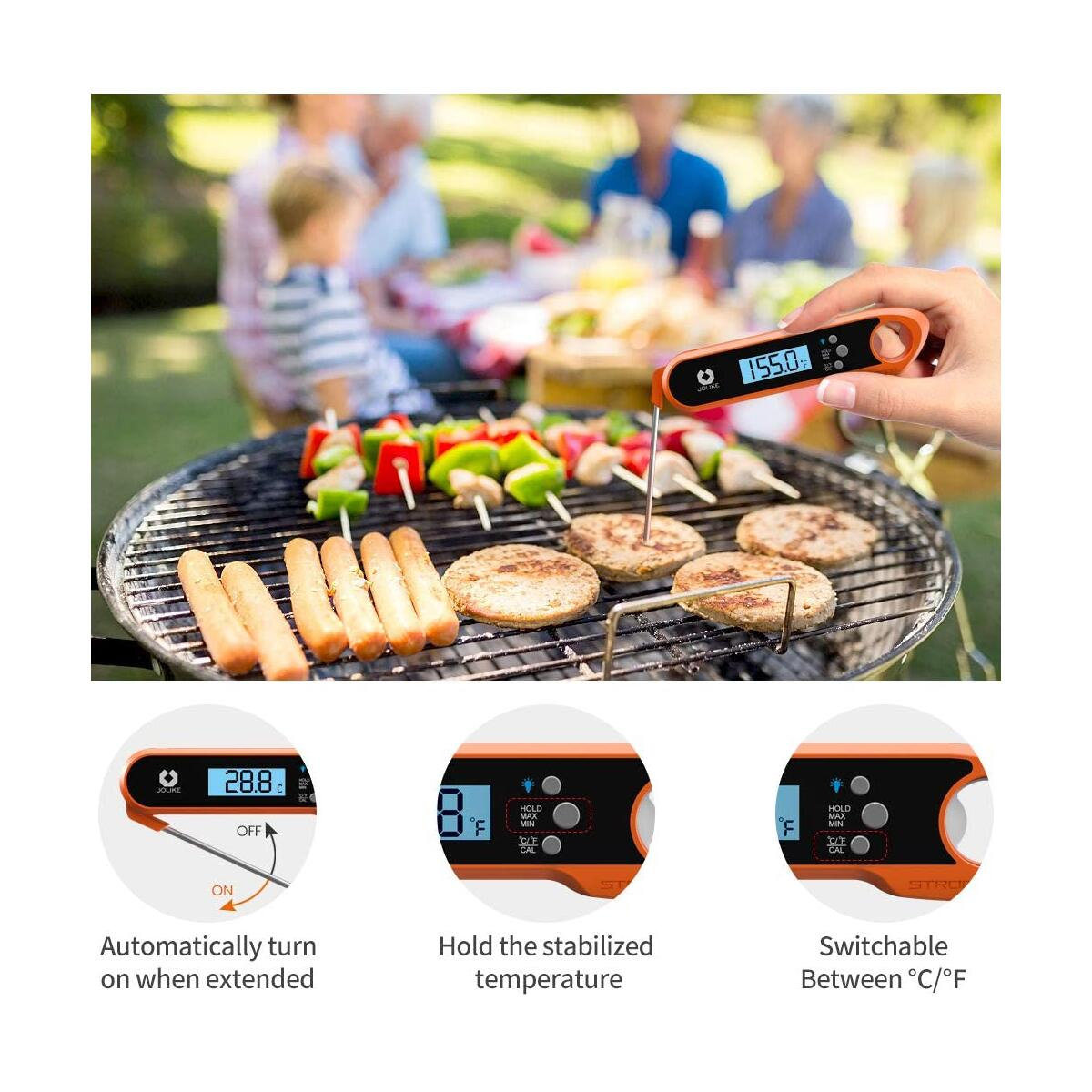 JOLIKE 2s Instant Read Meat Thermometer for Grilling Digital Steak Electronic Probe with IP67 Waterproof Internal Magnets for Kitchen Food Baking BBQ Candy