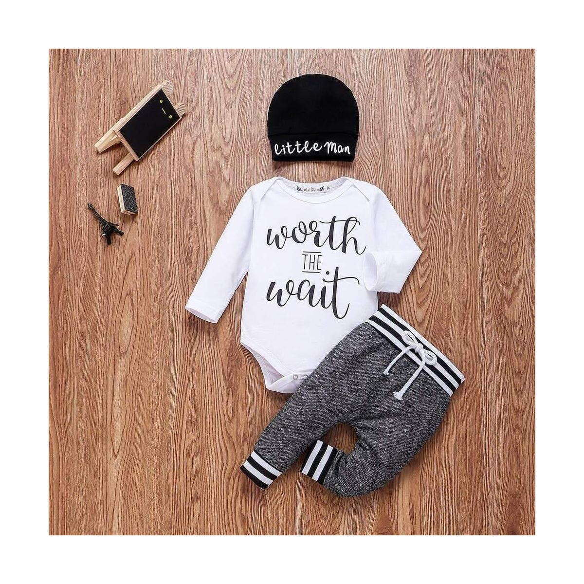 Newborn Baby Boys Cute Letter Print Romper Gray pants Hat Outfits Set