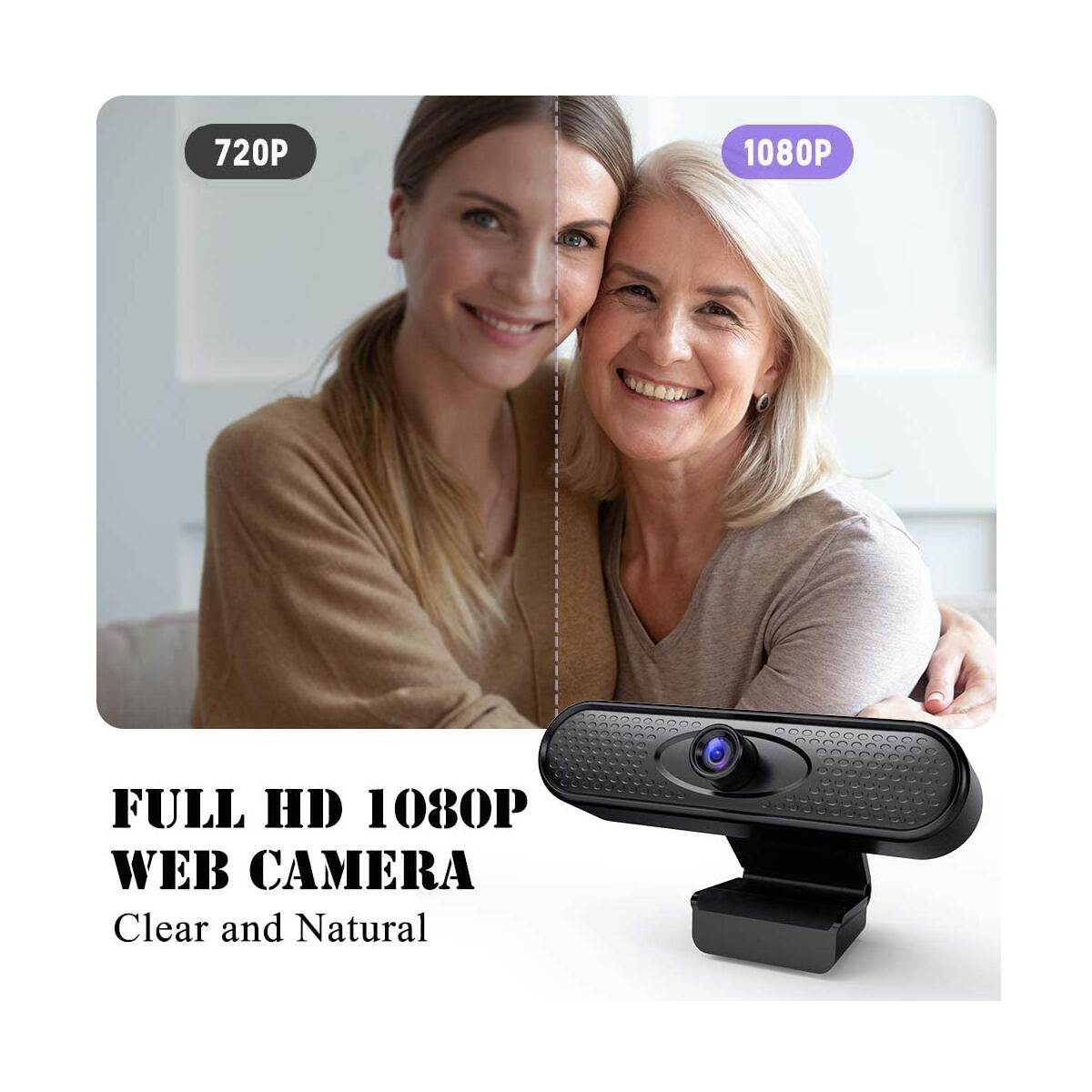 Webcam with Microphone - 1080P HD Web Camera with Tripod & Privacy Cover, 90° Adjustable Streaming USB Webcam for Desktop Laptop, PC Cam with 110° Wide Angle Lens for Video Calling Recording Gaming