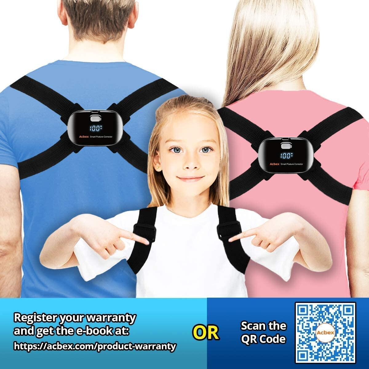 Smart Posture Corrector for Women Men Kids - Adjustable Back Brace Straightener with Slouch Detector, Posture Trainer for Humpback Correction and Pain Relief, Fits Chest Sizes 25