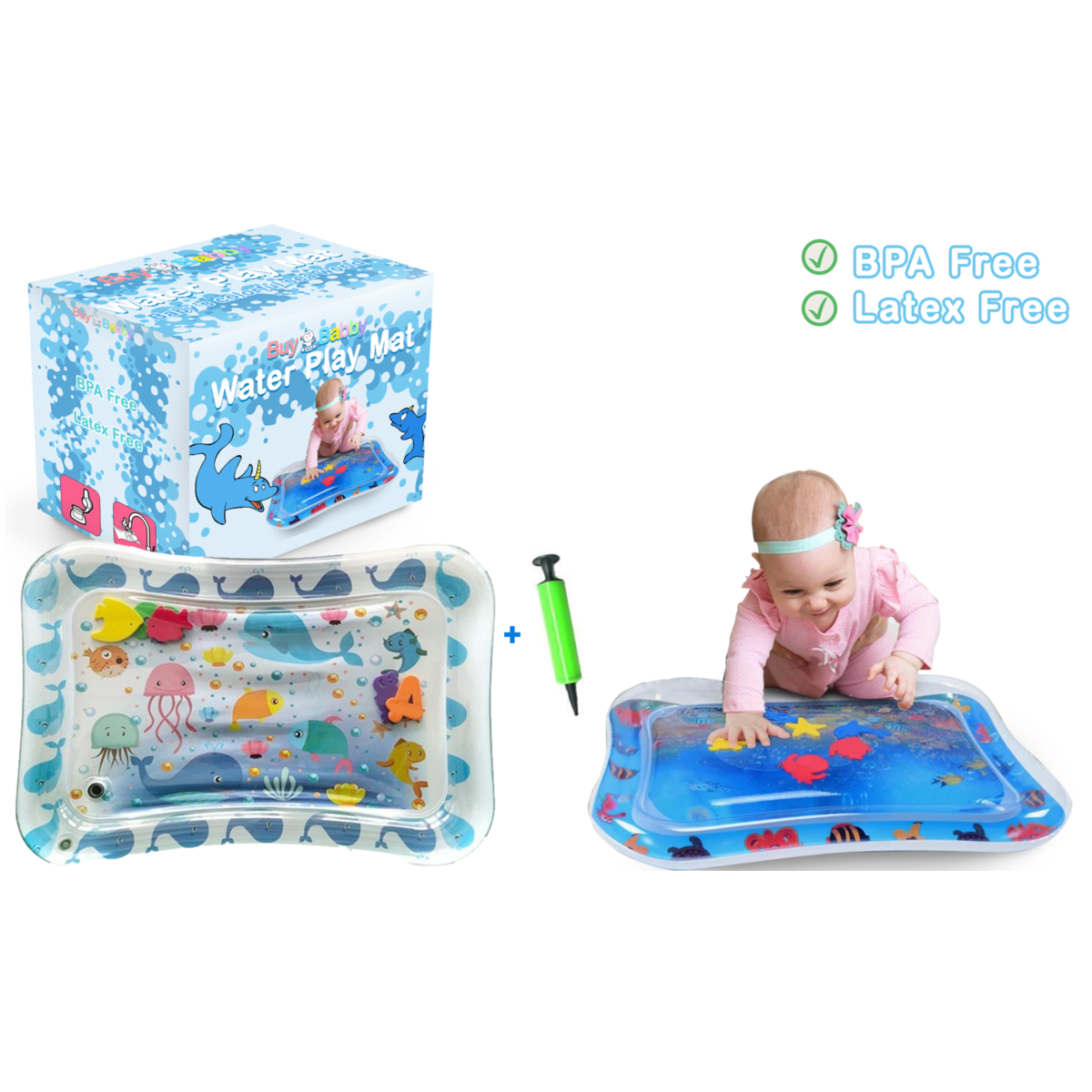 Splashin'kids Inflatable Tummy Time Premium Water mat Infants and Toddlers Growth Brain Development BPA-Free Baby Toys