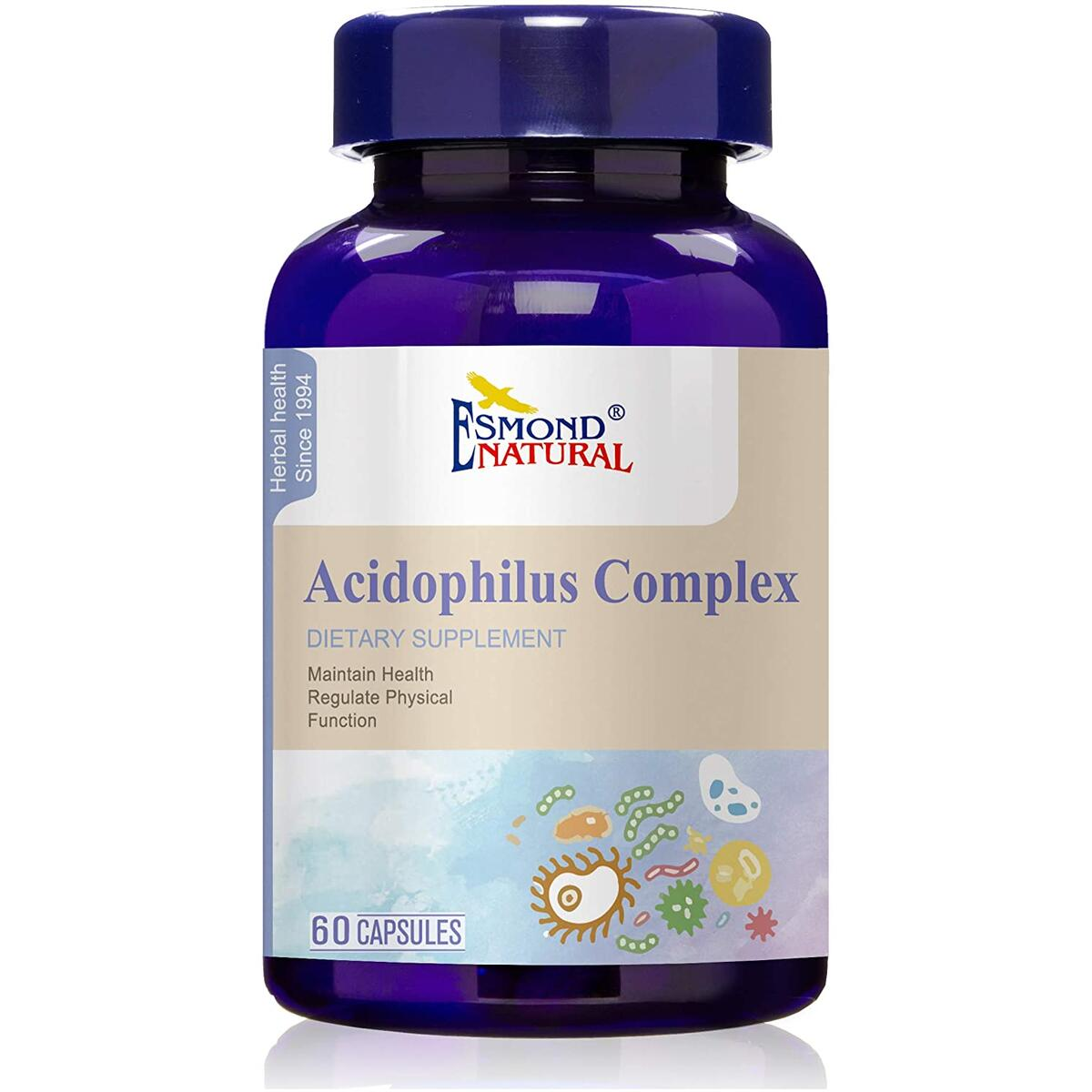 (3 Count, 10% Off) Esmond Natural: Acidophilus Complex (Supports Gastro-Intestinal Health & Physical Functions), GMP, Natural Product Assn Certified, Made in USA-13.6mg, 180 Capsules