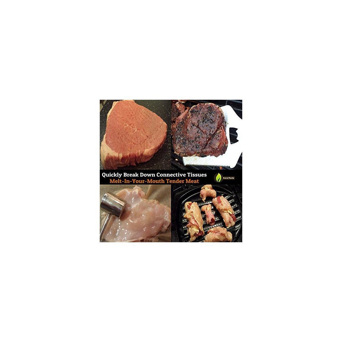 Veggie Grill Basket + Meat Tenderizer Mallet Tool - Dishwasher Safe & - Hammer Pounder for Tenderizing Chicken Steak Pork & Veal - Professional Non Slip Silicone Handle