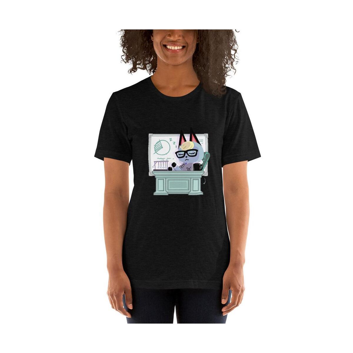 Animal Crossing Raymond Busy Workday Short-Sleeve Unisex T-Shirt, Black Heather / XS