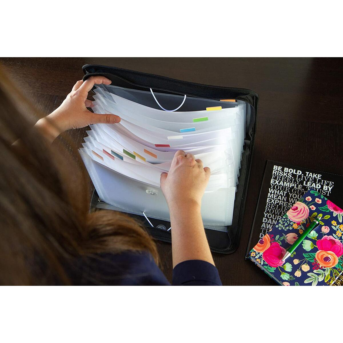 Accordian File Organizer – Most Durable Expanding File Folder with Zipper Closure. Elegant Design With 13 Pockets Accordion Folder and 4 Storage Pockets, Handle A4 & Family Bill Paperwork Documents