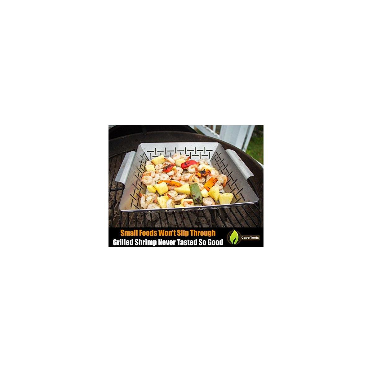 Pepper Rack + Vegetable Grilling Basket - Dishwasher Safe Stainless Steel - Large Non Stick BBQ Grid Pan For Veggies Meat Fish Shrimp & Fruit - Best Barbecue Wok Topper Accessories Gift for Dad
