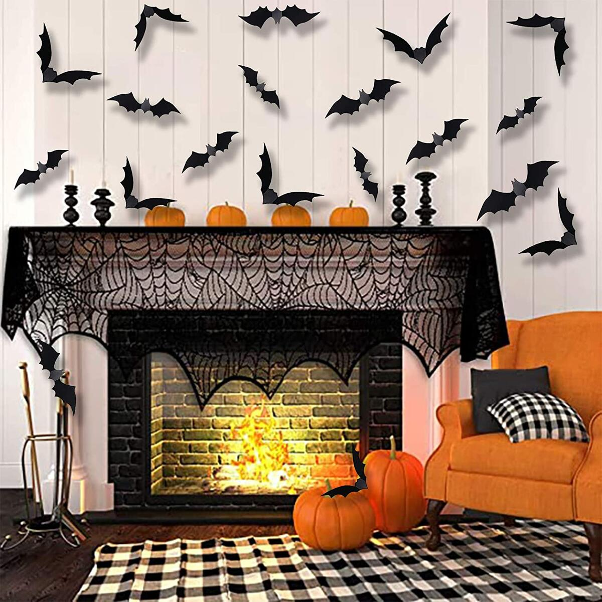 Halloween Party Supplies 3D Bats Decor (36 Pcs) - Large 4 Sizes Wall Decal Wall Sticker, Halloween Wall Decoration Halloween Decorations Clearance