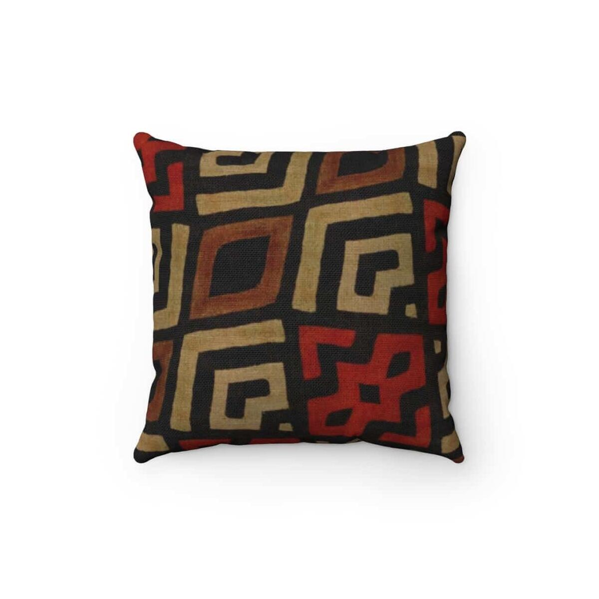 Bogolan Mystic Red Spun Polyester Square Pillow, 20