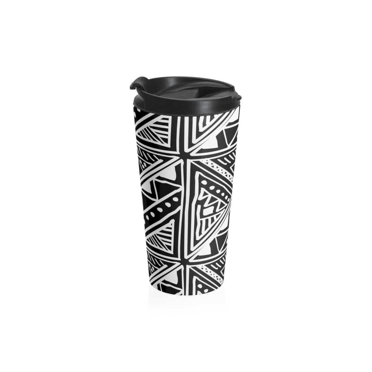 White Mud-cloth Stainless Steel Travel Mug