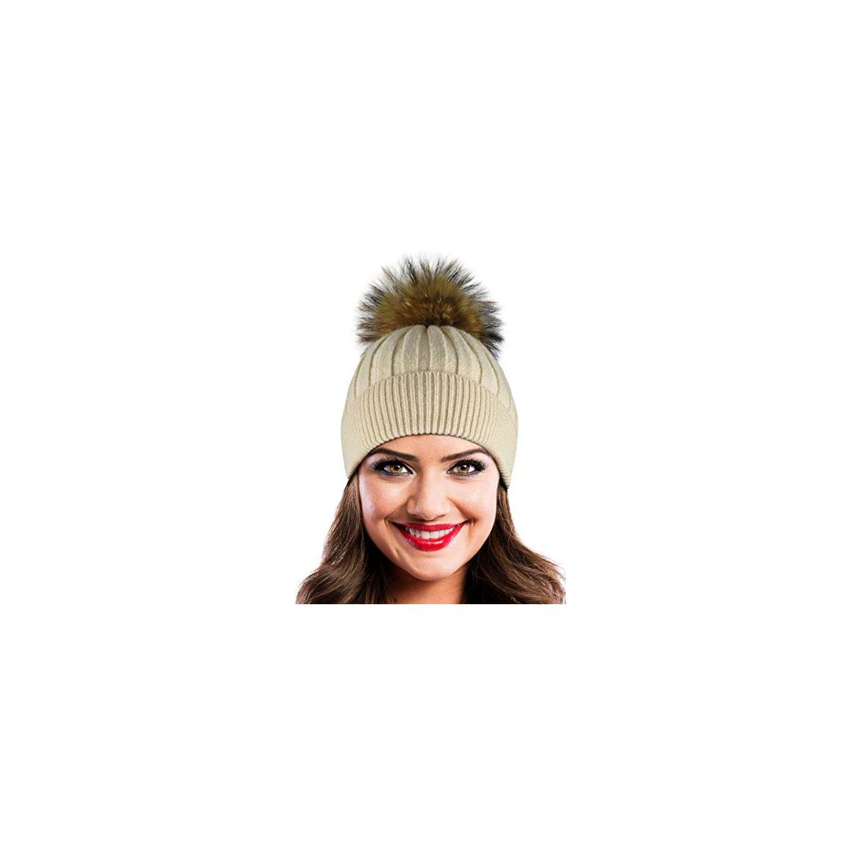 Winter Hat Beanie with Real Fur Pom Pom Decorations. (Black and Beige available)