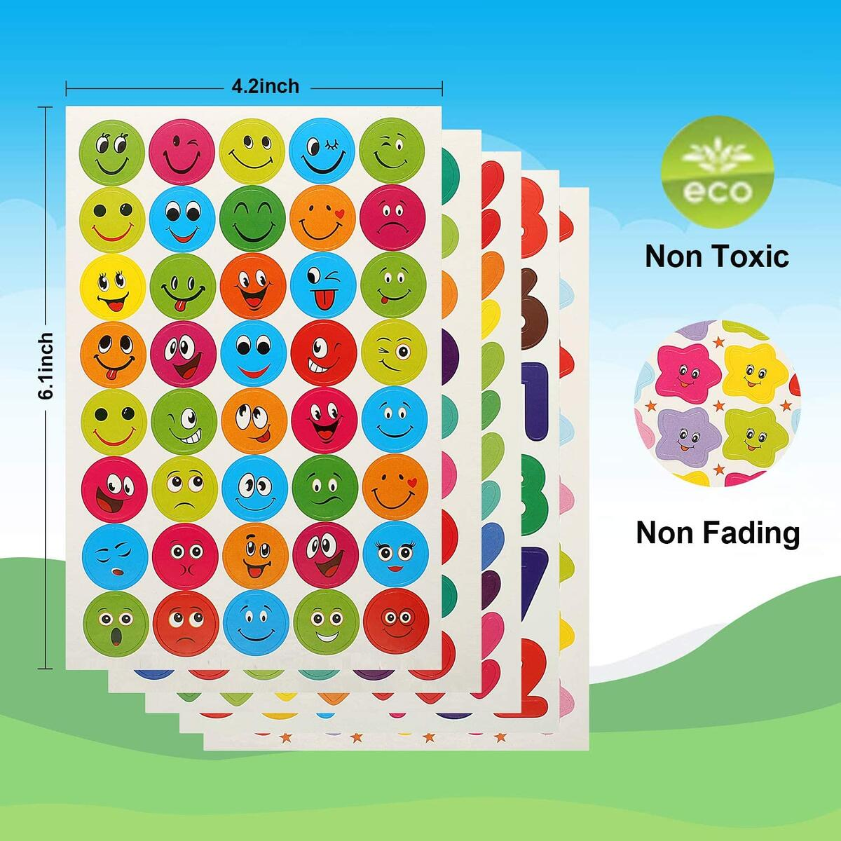 Stickers for Kids - Kid Stickers Teacher Stickers Sheets 5800 Pieces Reward Stickers Homeschool Stickers Smiley Face Star Heart Letter Number Apple Stickers