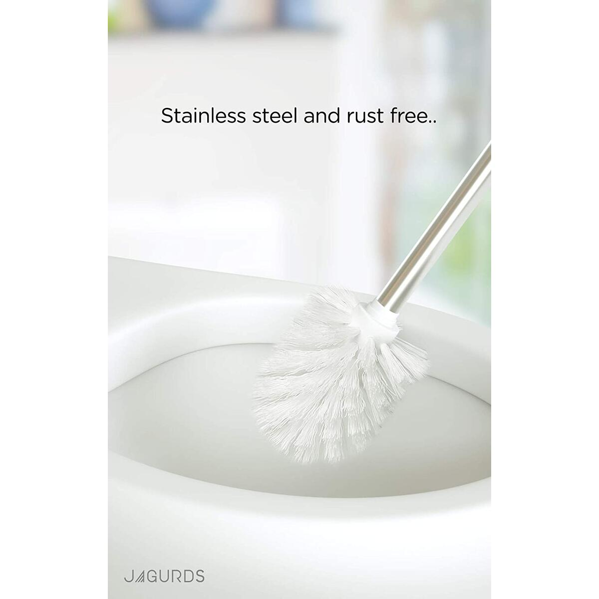 JAGURDS Toilet Brush with Holder Stainless Steel Bowl Cleaner - Perfect for Cleaning and Scrubbing Bathroom Floors and Accessories