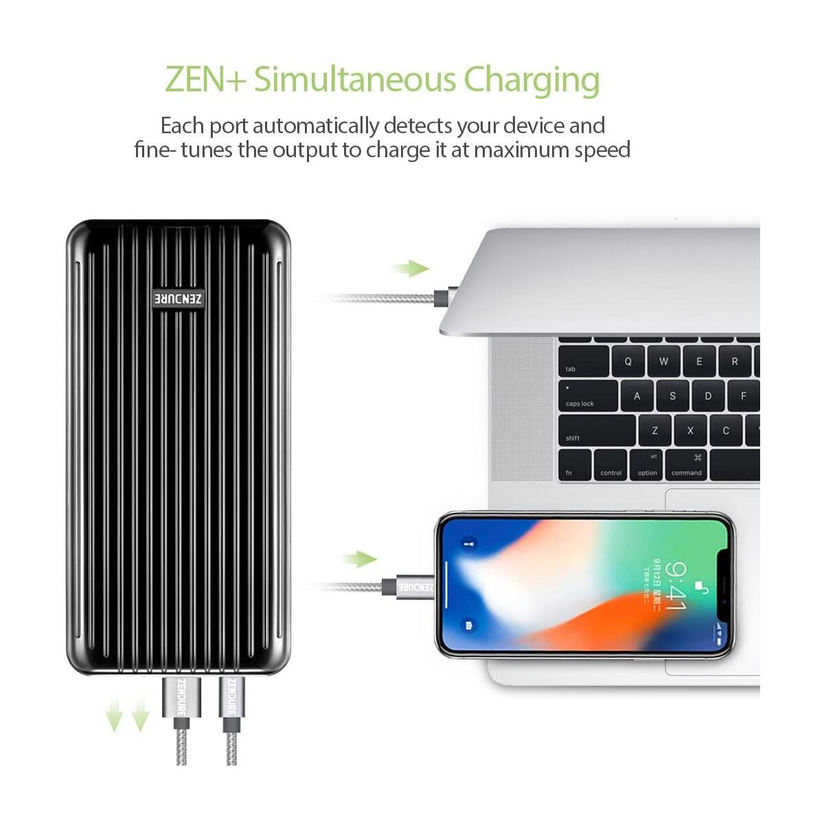 Zendure 45W Power Delivery Portable Charger A6PD 20100mAh Ultra-Durable PD Power Bank with USB-C Input/Output, External Battery for MacBook Pro, iPhone, Black