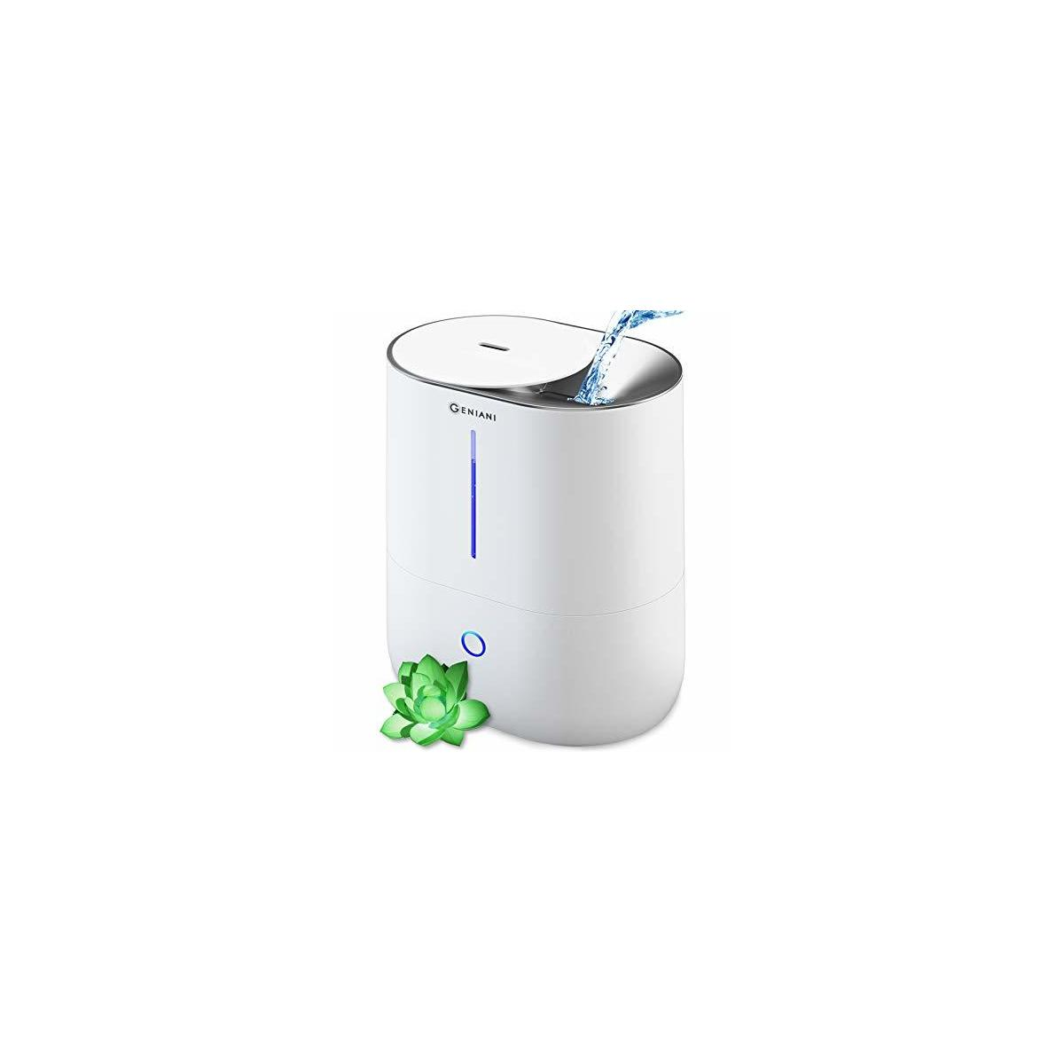 GENIANI Top Fill Cool Mist Humidifiers for Bedroom & Essential Oil Diffuser - Smart Aroma Ultrasonic Humidifier for Home, Baby, Large Room with Auto Shut Off, 4L Easy to Clean Water Tank (White)