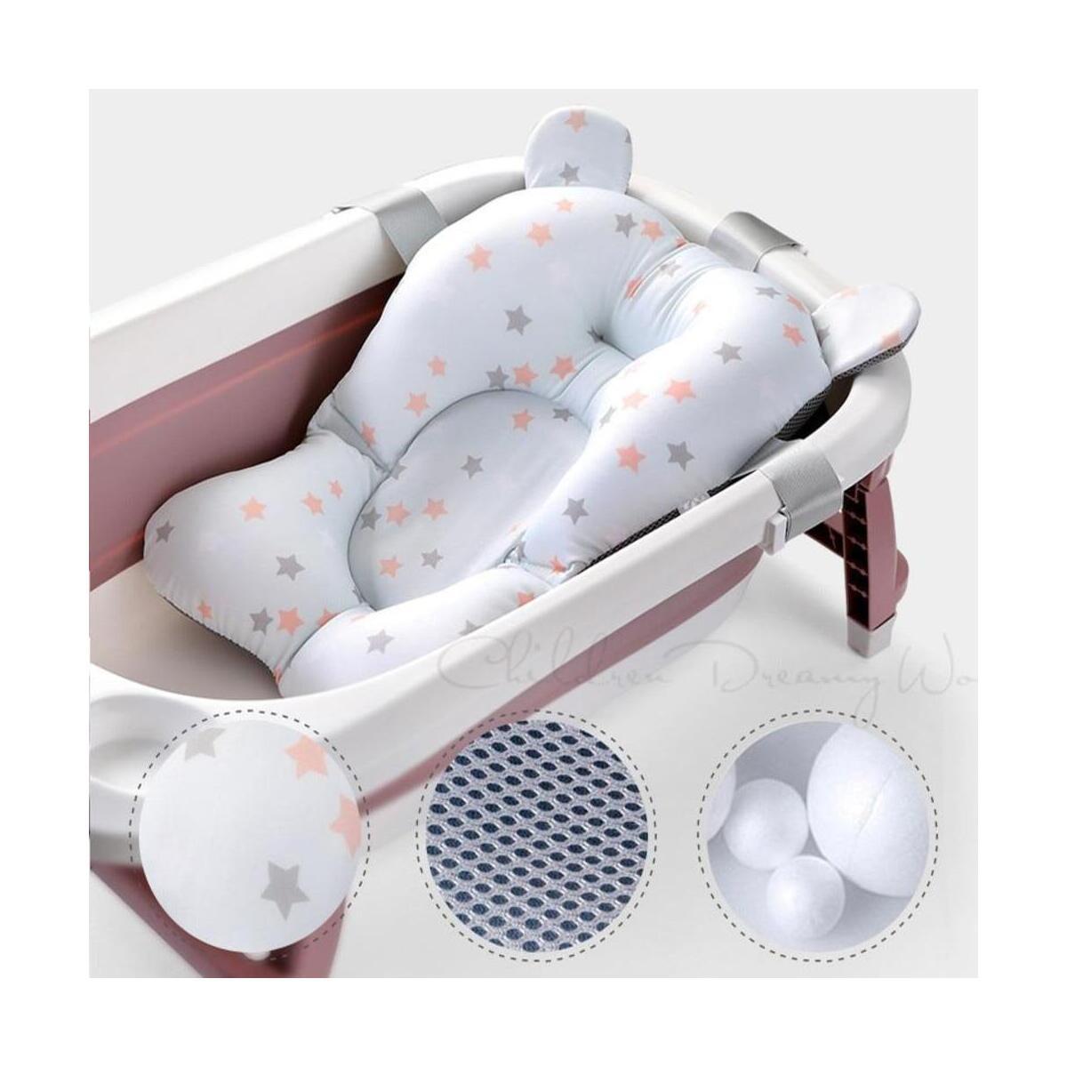 Baby Bath Cushion Support Mat Seat Support Mat Foldable Infant Anti-Slip Bath Cushion Soft Mat