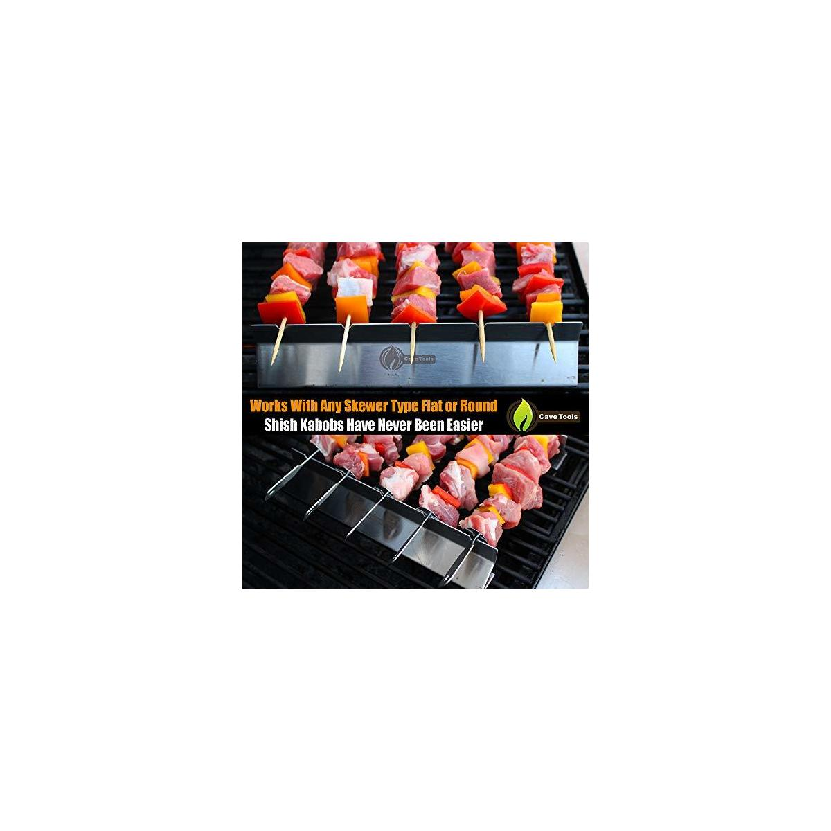 Cave Tools Kabob Rack for Grill Oven - Universal Fit BBQ Skewers Kabab Maker - Stainless Steel Wood Bamboo Metal Flat or Round - Shish Kebabs on Barbecue Made Easy Grilling Accessories Set