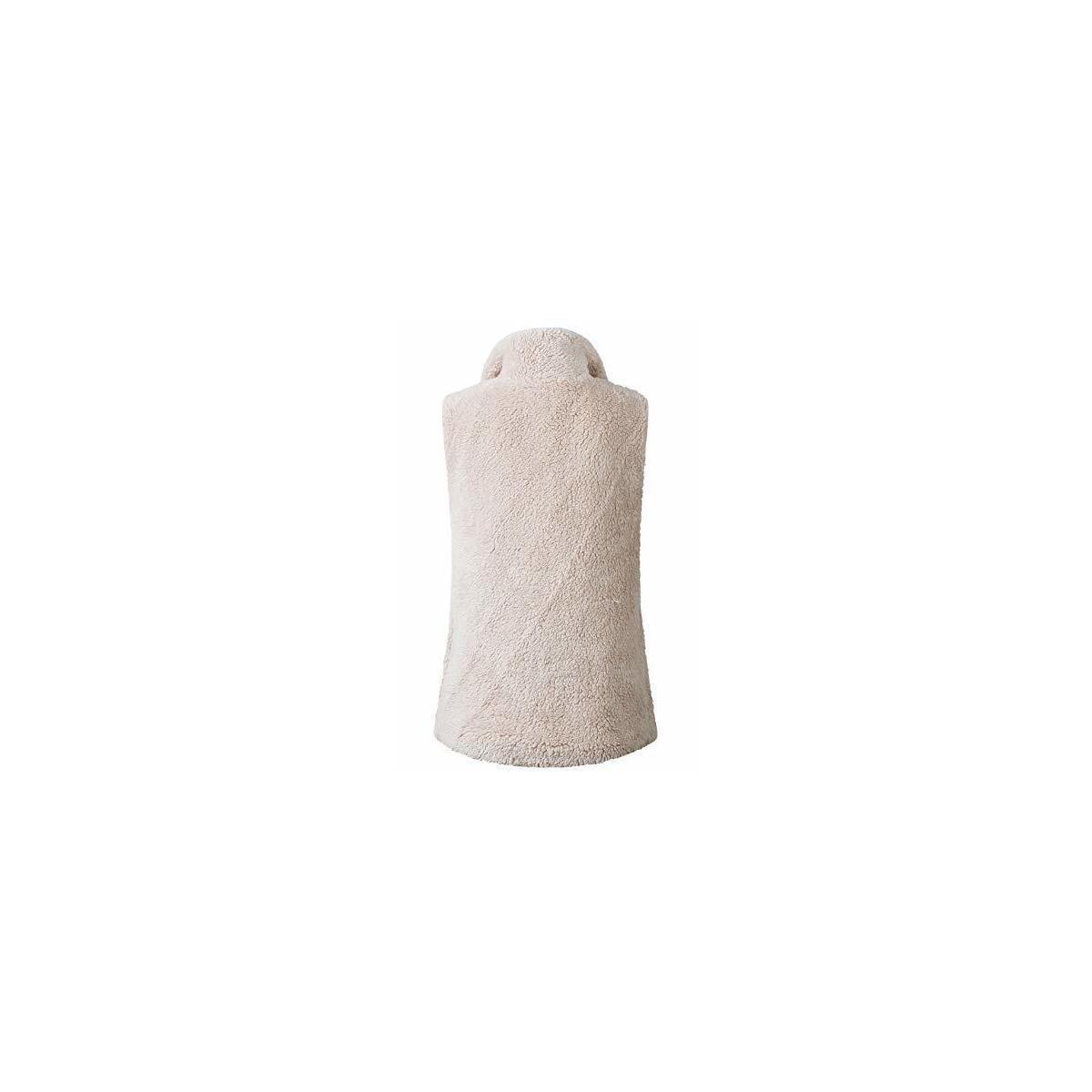 Women's Casual Soft Front Zip Waistcoat Sleeveless Lightweight Warm Fuzzy Sherpa Fleece Vest with Pockets