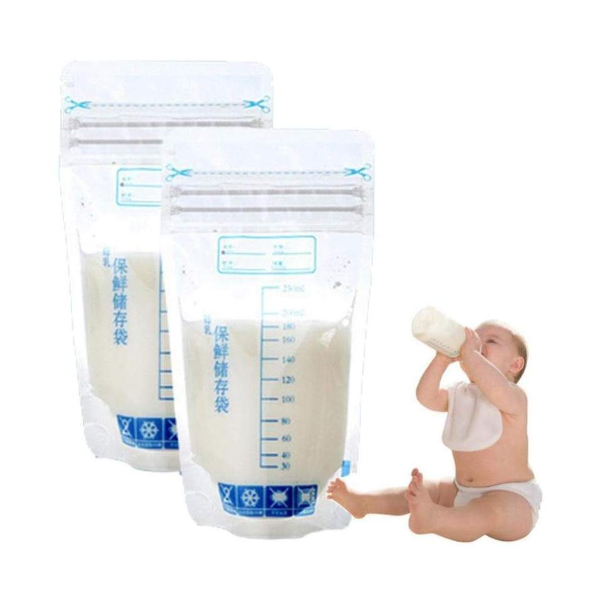 Breast Milk Storage Bags - Self Standing, Freezer Safe, Leak Proof Zip Top Closure, Pre Sterilized, Marked Measurements Food Pouches